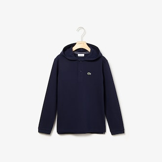 라코스테 키즈 후드티 Lacoste Boys Hooded Pique Polo,Navy Blue
