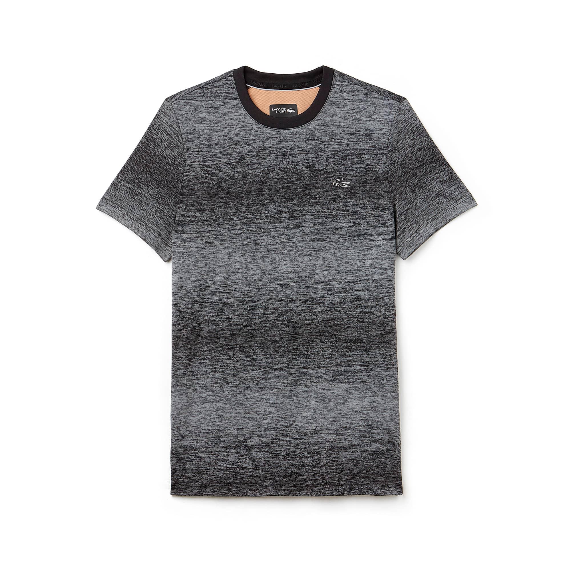 라코스테 스포츠 반팔 티셔츠 Lacoste Mens SPORT Tennis Crew Neck Tech Jersey & Mesh T-shirt,BLACK/BLACK-COPPER ORANGE