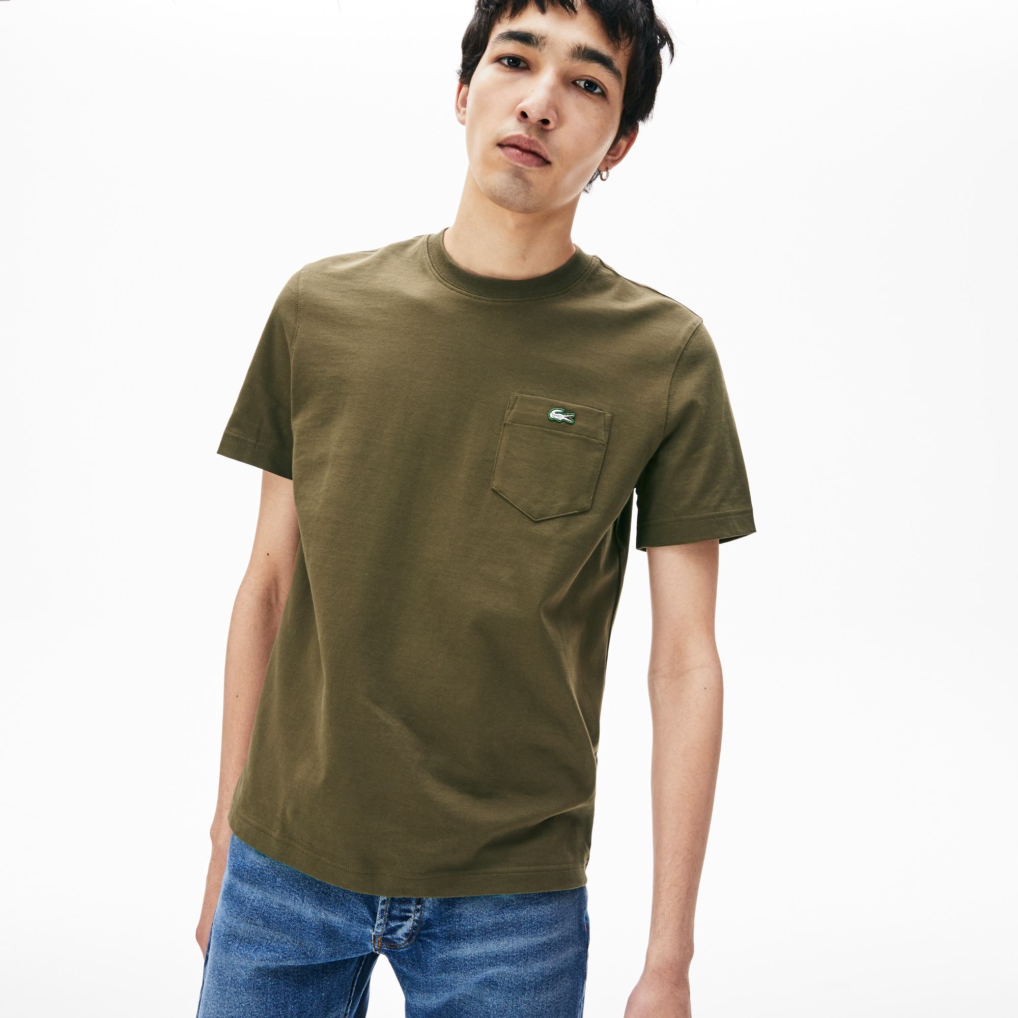 00e15009 Lacoste Unisex Live Cotton Jersey T-Shirt In Khaki Green | ModeSens