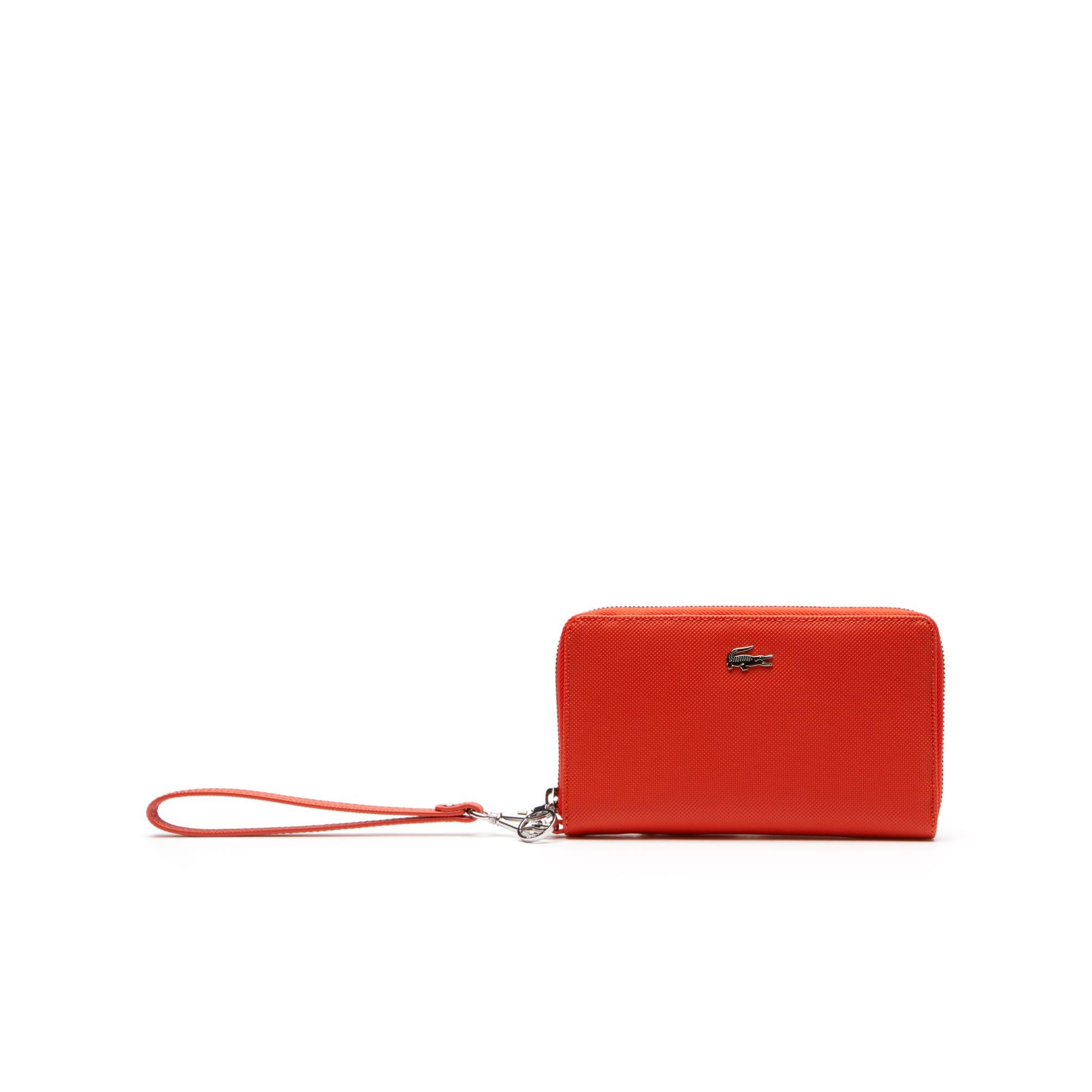 라코스테 장지갑 Lacoste Womens Daily Classic Coated Pique Canvas 7 Card Zip Wallet,orange.com