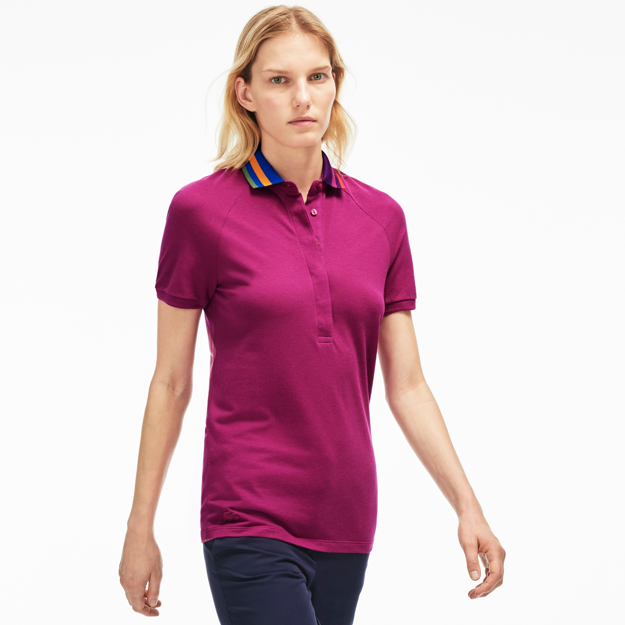 Women's Slim Fit Stretch Petit Piqué Flag Print Collar Polo Shirt