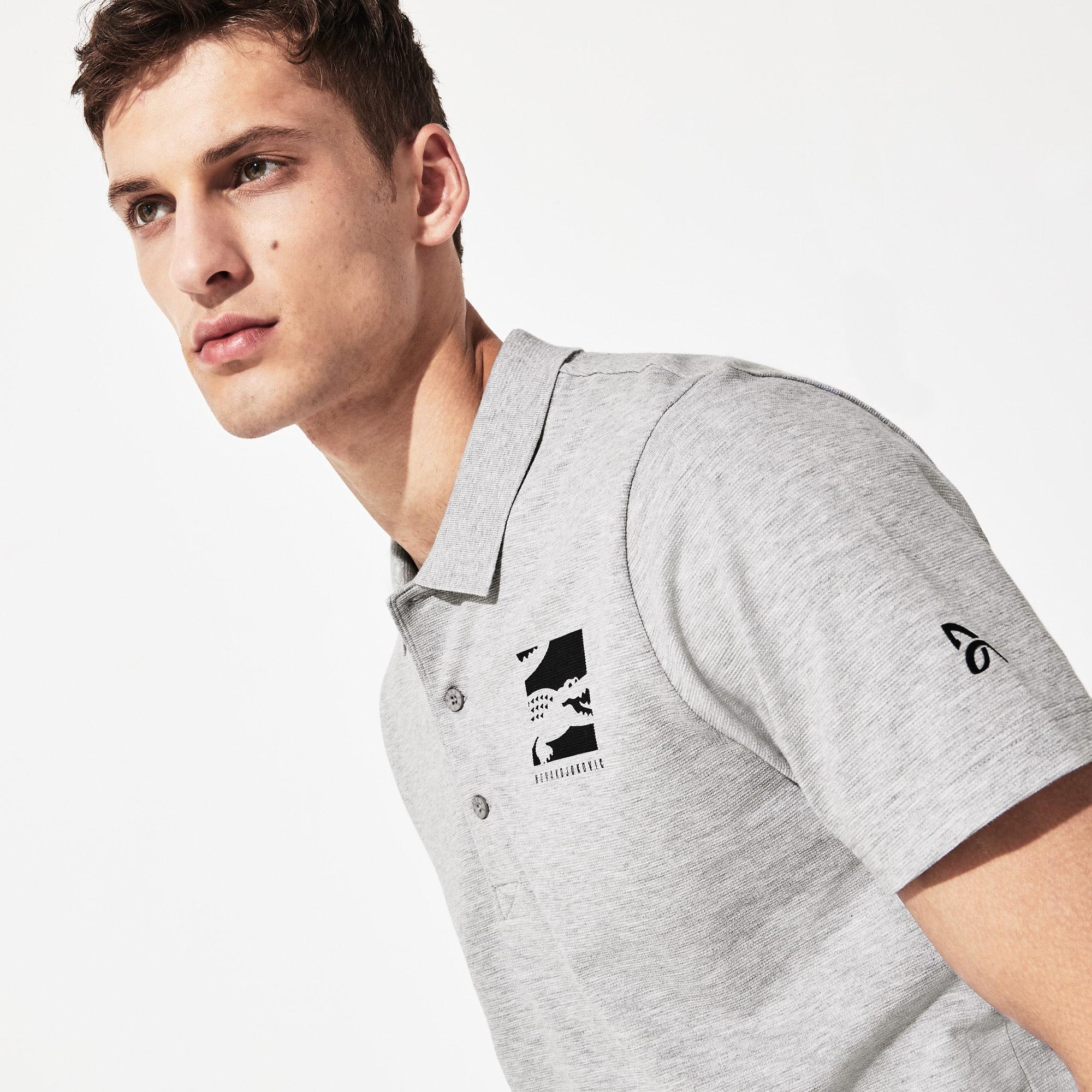 라코스테 Lacoste Mens SPORT Novak Djokovic Lightweight Cotton Polo,Grey Chine / Navy Blue - MNC