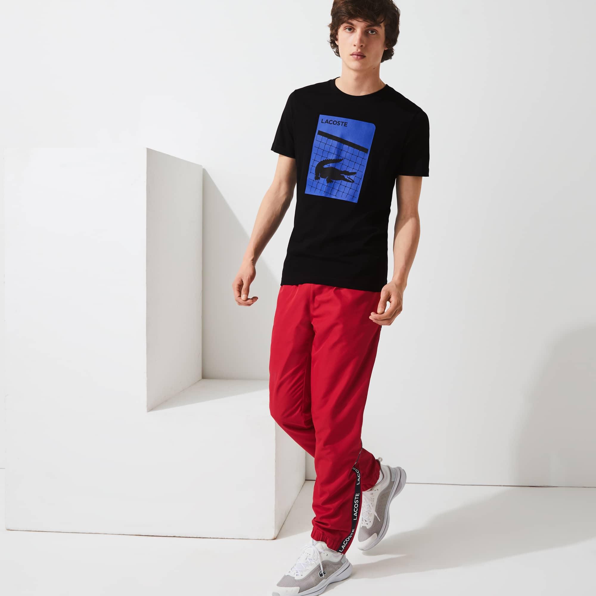 Men's 라코스테 Lacoste SPORT 3D Print Breathable T-shirt,Black 031