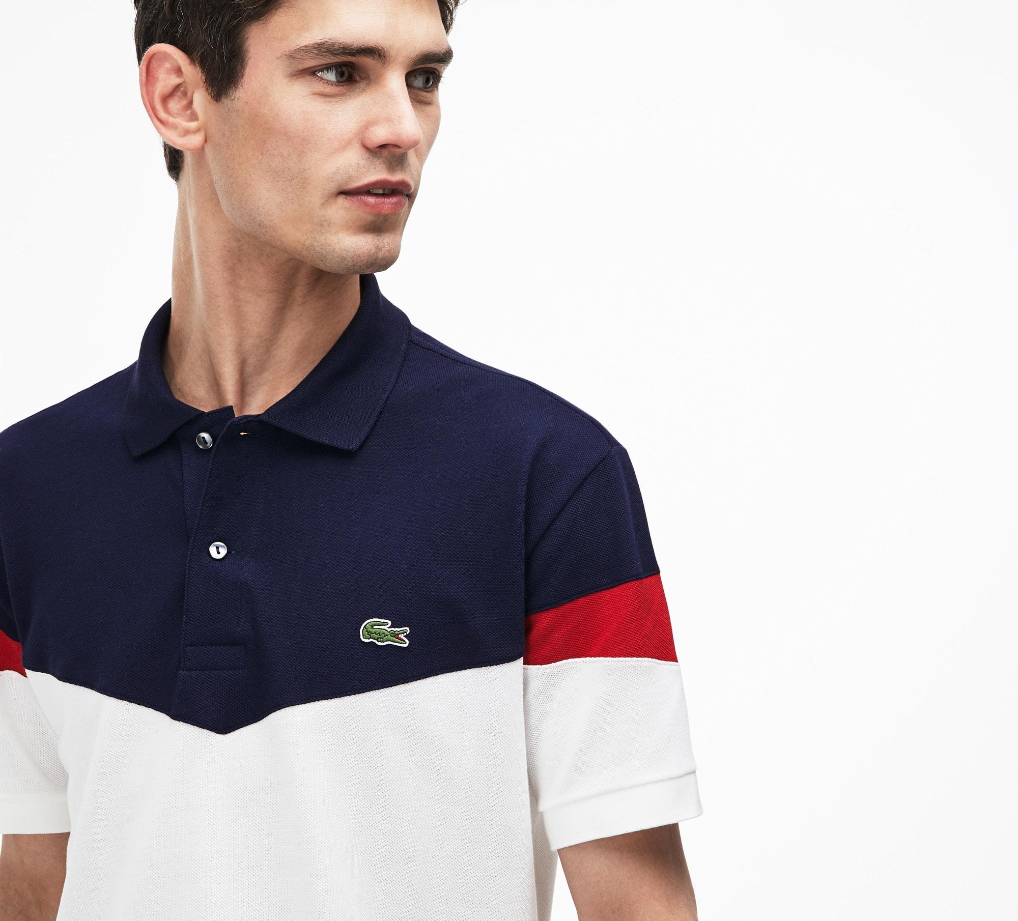 Men's Classic Fit Colorblock Cotton Petit Piqué Polo