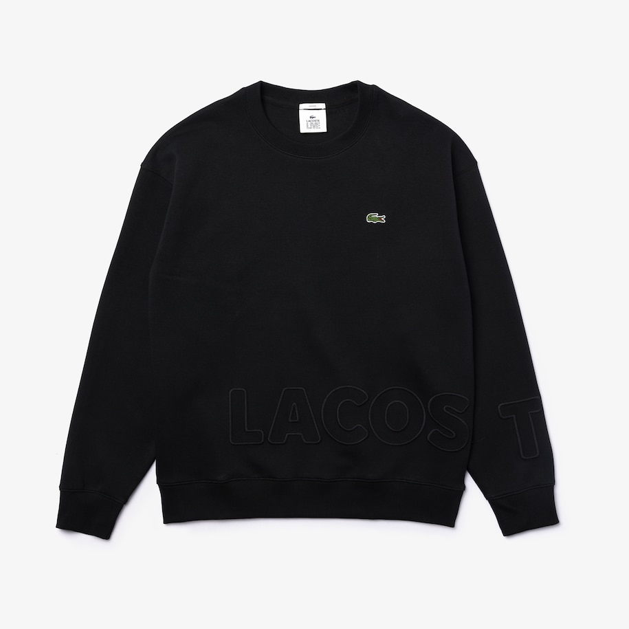 Unisex Lacoste LIVE Crew Neck Embroidered Cotton Blend Sweatshirt