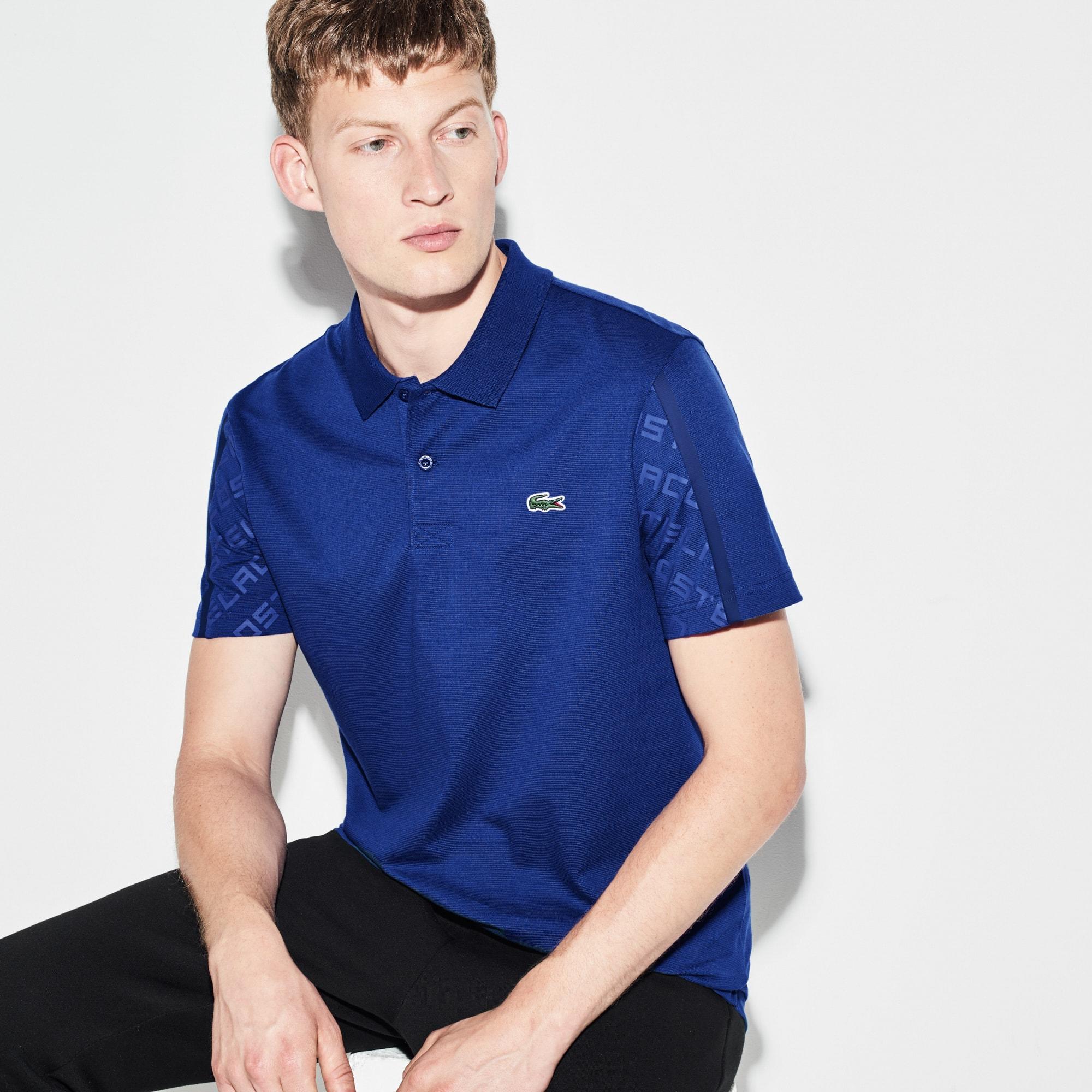 Men's  SPORT Tennis Print Sleeves Lightweight Knit Polo