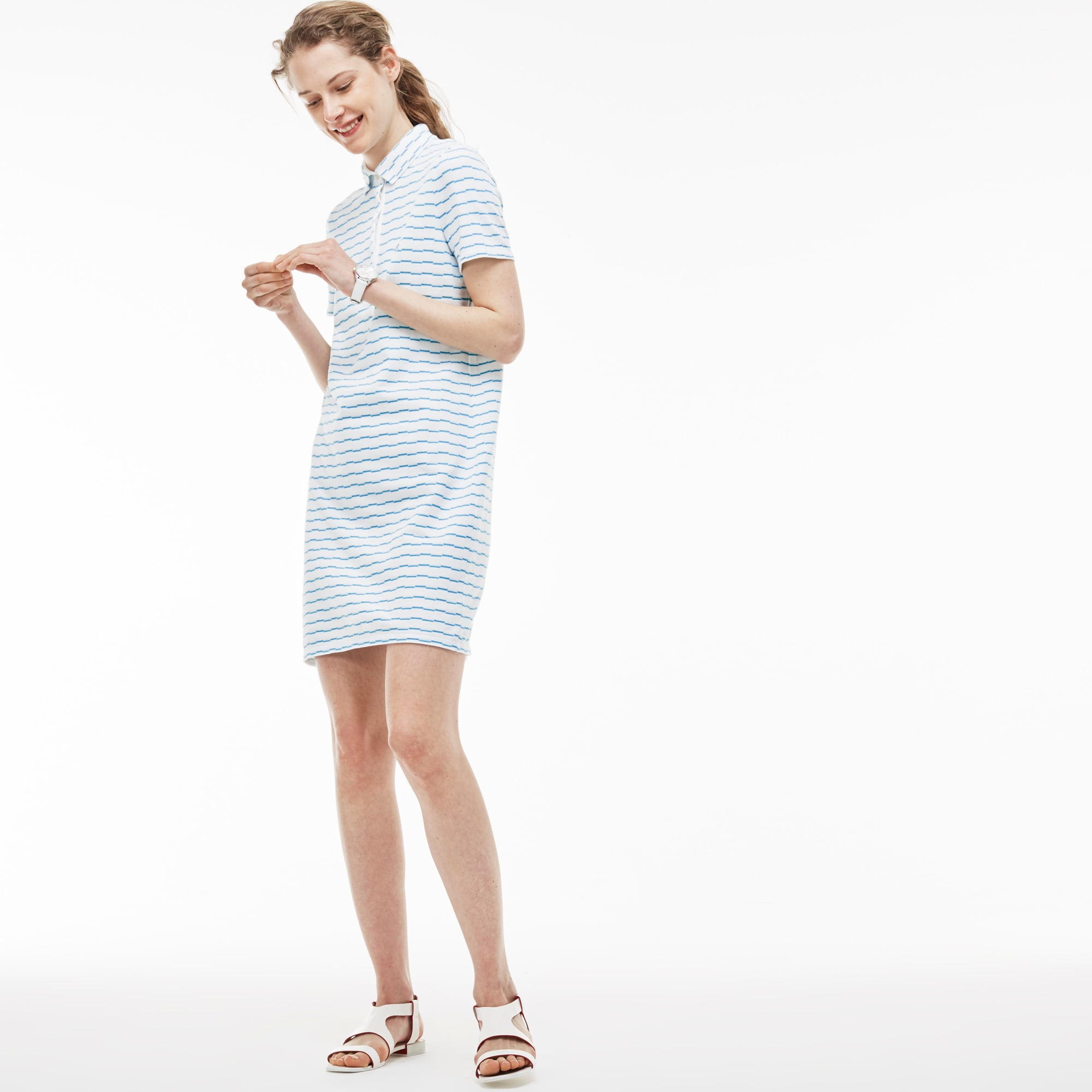 Women's Two-Tone Caviar Piqué Adjustable Belt Polo Dress