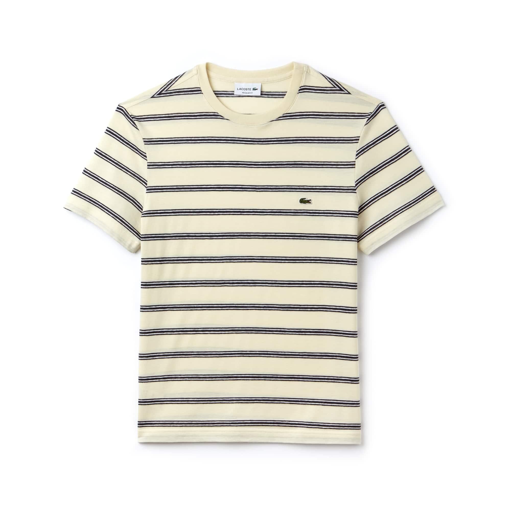 Men's Striped Cotton And Linen T-Shirt