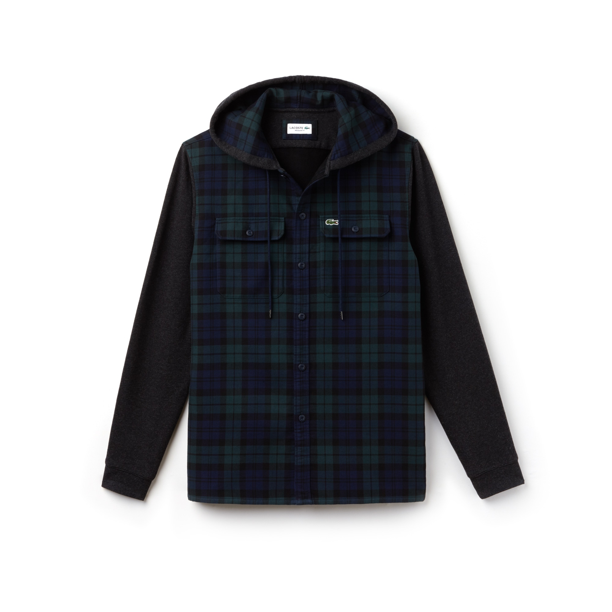 Men's Regular Fit Hooded Check Cotton Flannel Shirt