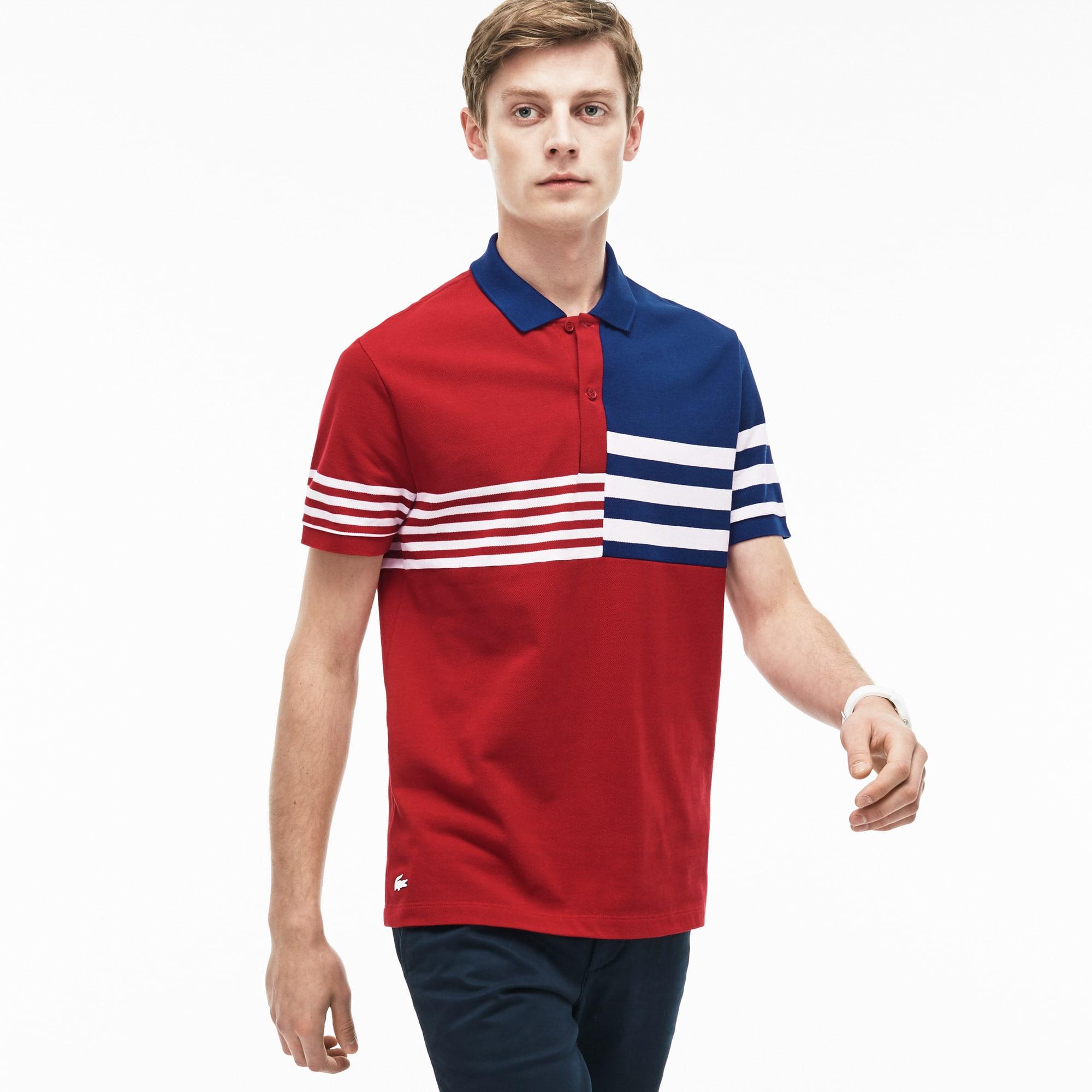 Men's Lacoste Regular Fit Mixed Stripes Petit Piqué Polo