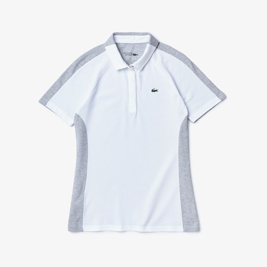 라코스테 우먼 골프 투톤 스트레치 폴로 셔츠 Lacoste Womens SPORT Two-Tone Stretch Cotton Pique Golf Polo Shirt,White / Grey Chine - G8K