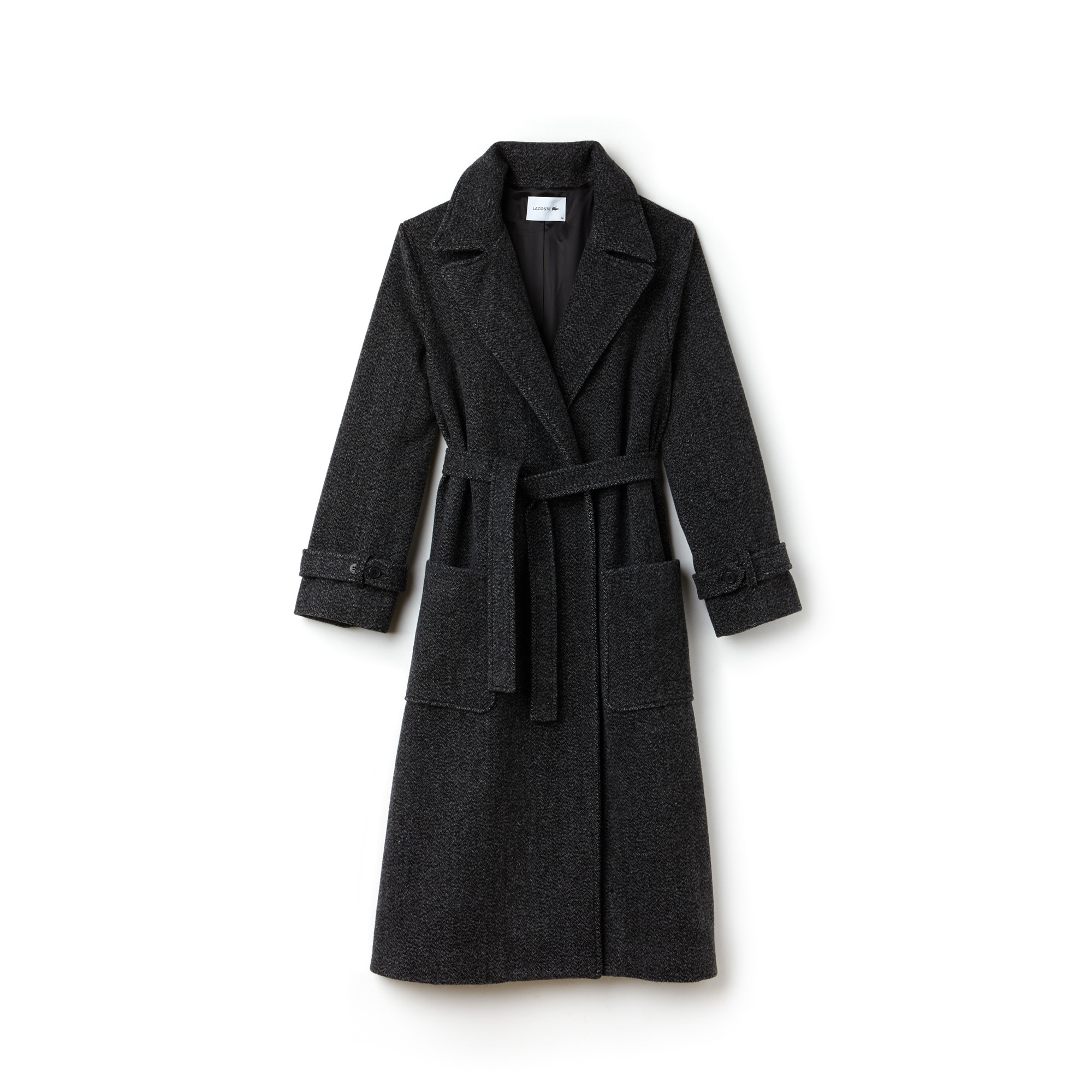Women's Long Belted Tweed Coat