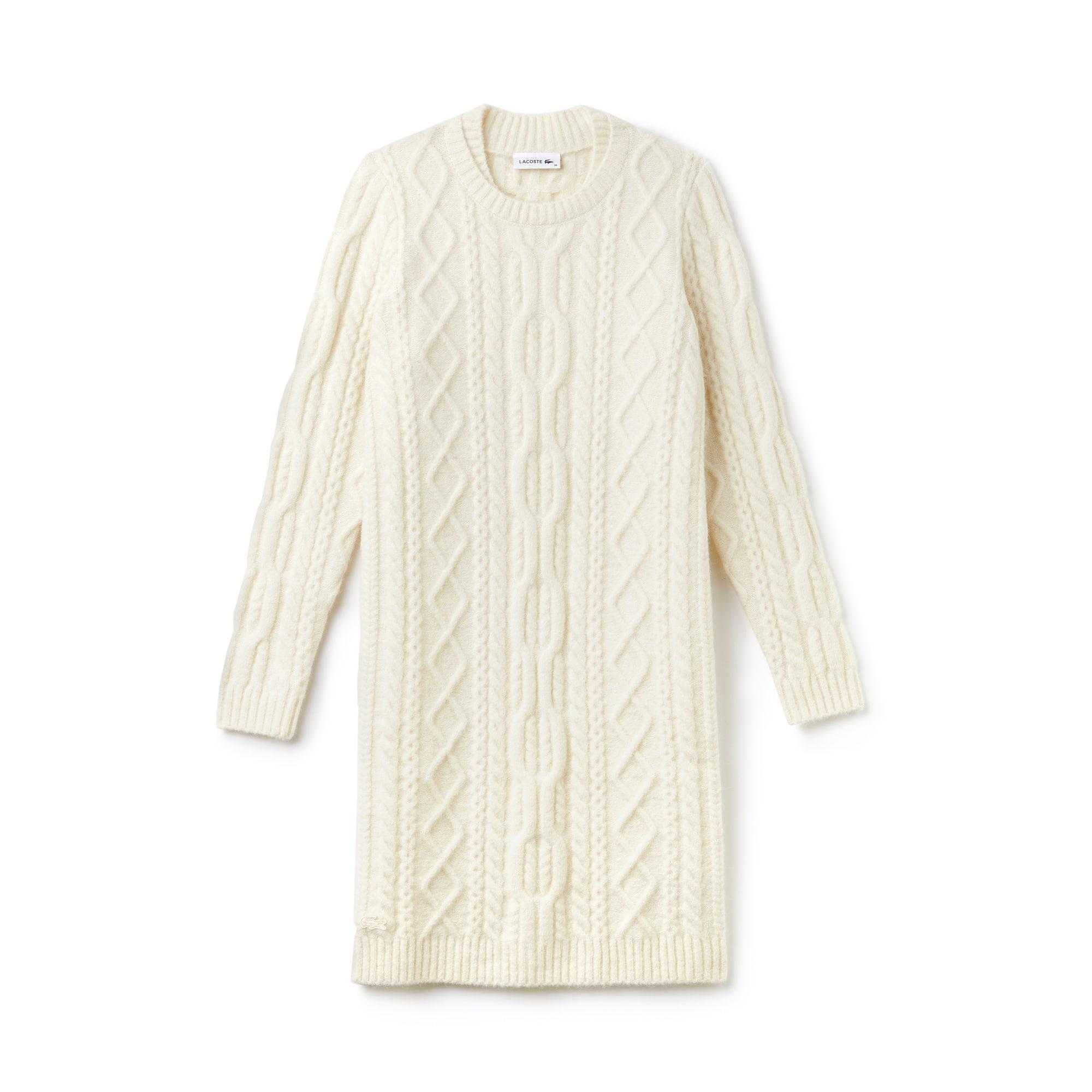 라코스테 Lacoste Womens Alpaga And Wool Cable Knit Sweater Dress,geode