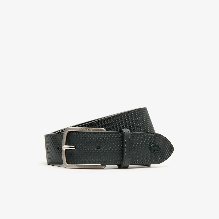 Men's Engraved-Buckle Texturized Leather Belt