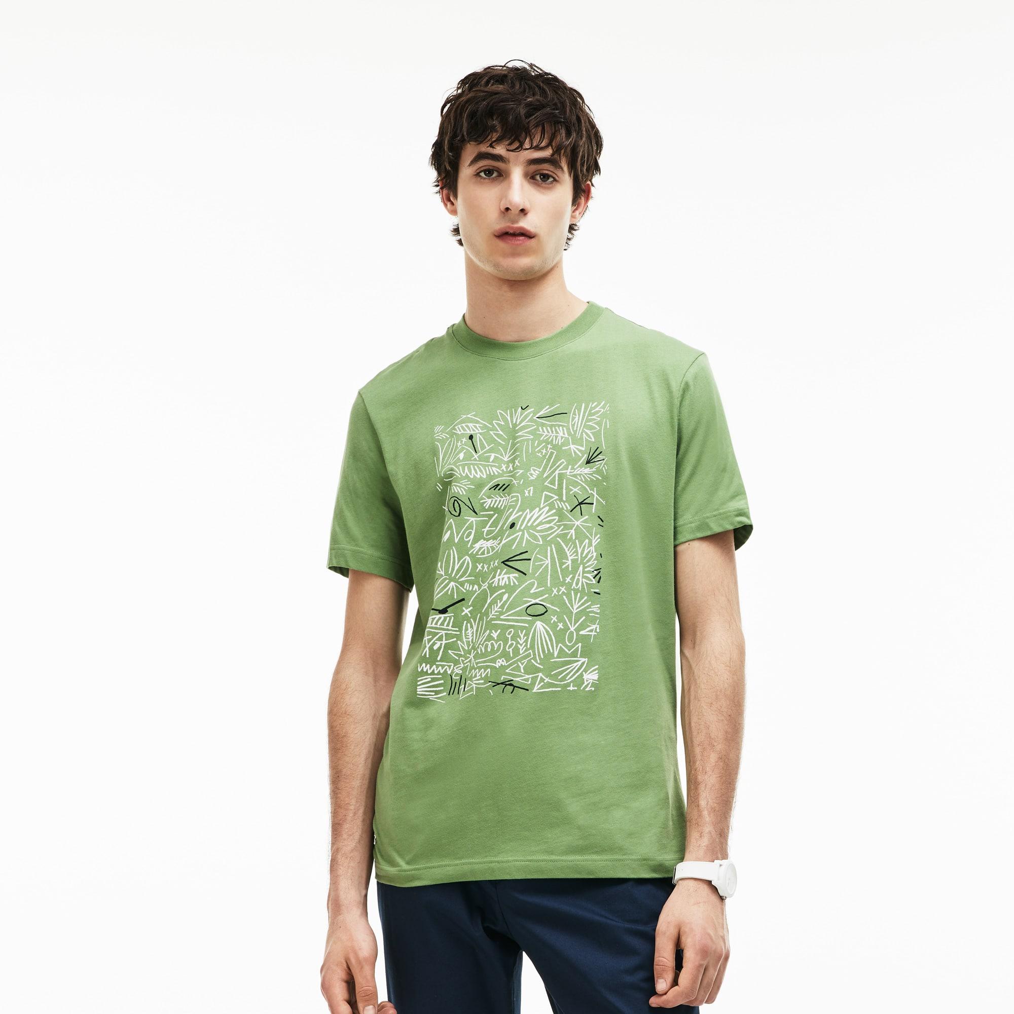 Men's Crew Neck Print Cotton T-Shirt