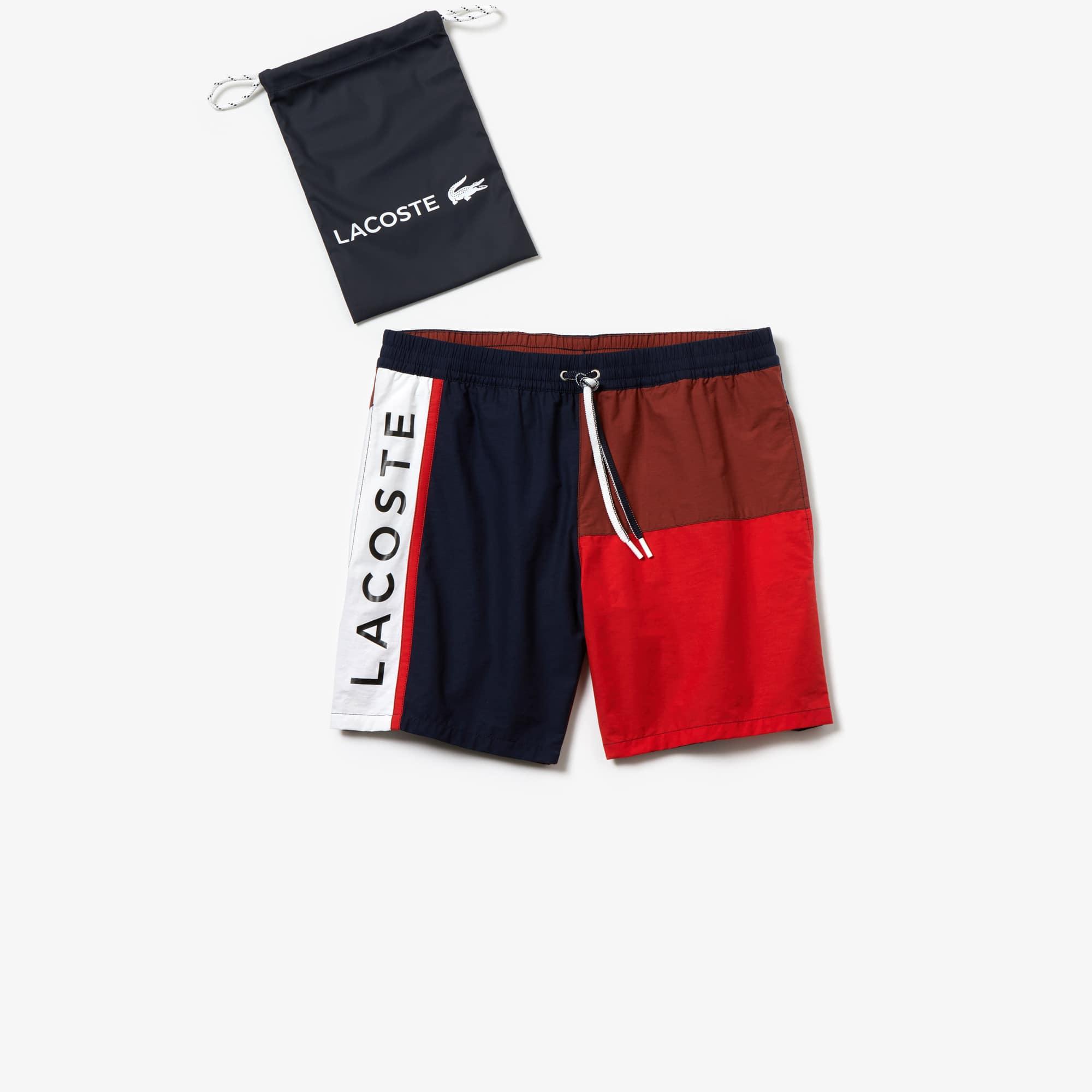 라코스테 컬러블록 수영복 반바지 보드숏 하의  Lacoste Mens Colorblock Swim Trunks,Navy Blue / Brown / Red / White