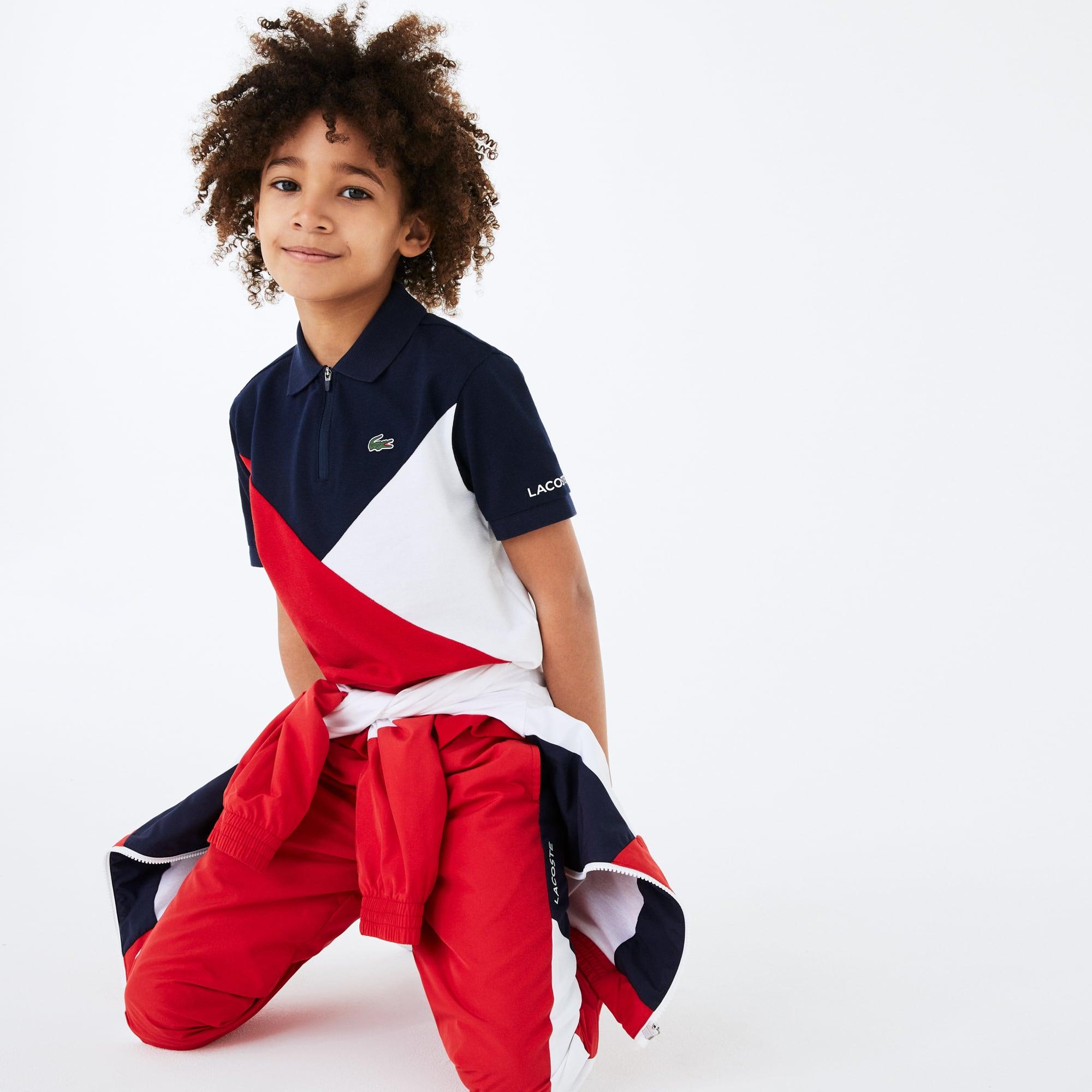 Boys 라코스테 Lacoste SPORT Colourblock Ultra-Light Knit Polo Shirt