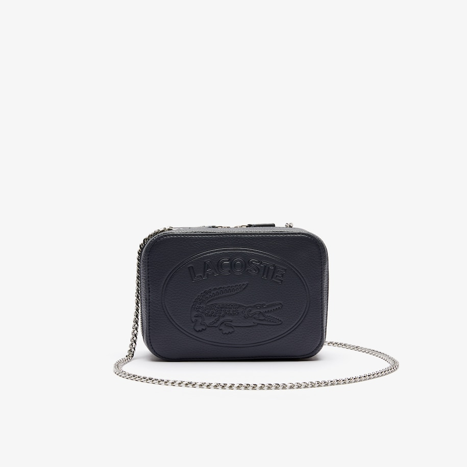 라코스테 악어 로고 체인 숄더백 - 피코트  Lacoste Womens Croco Crew Grained Leather Zip Shoulder Bag,PEACOAT - 021