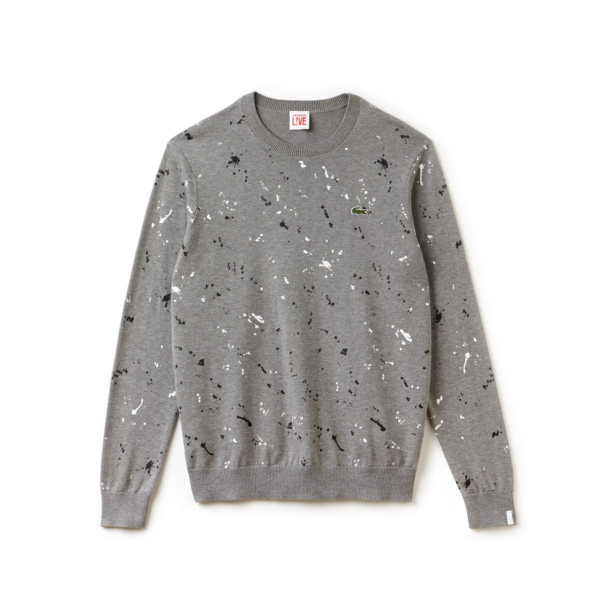 Men's  LIVE Crew Neck Speckled Print Jersey Sweater