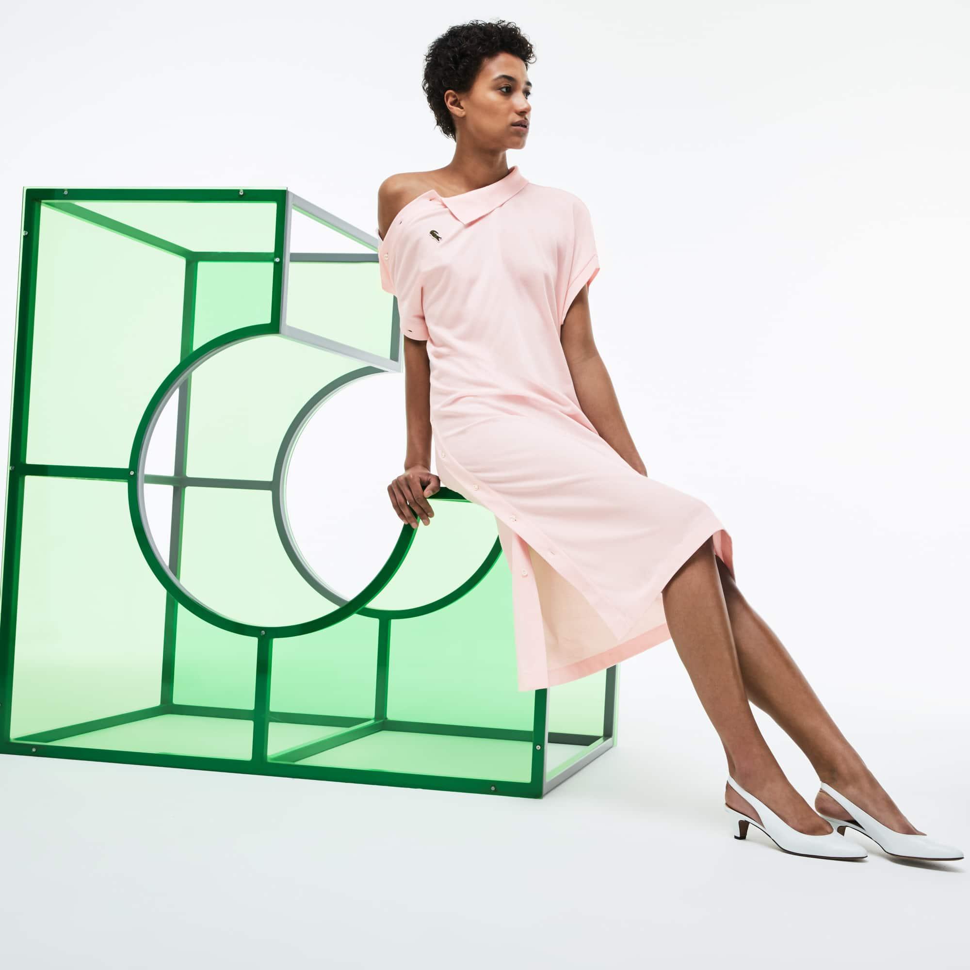 Women's Fashion Show Asymmetrical Piqué Polo Dress