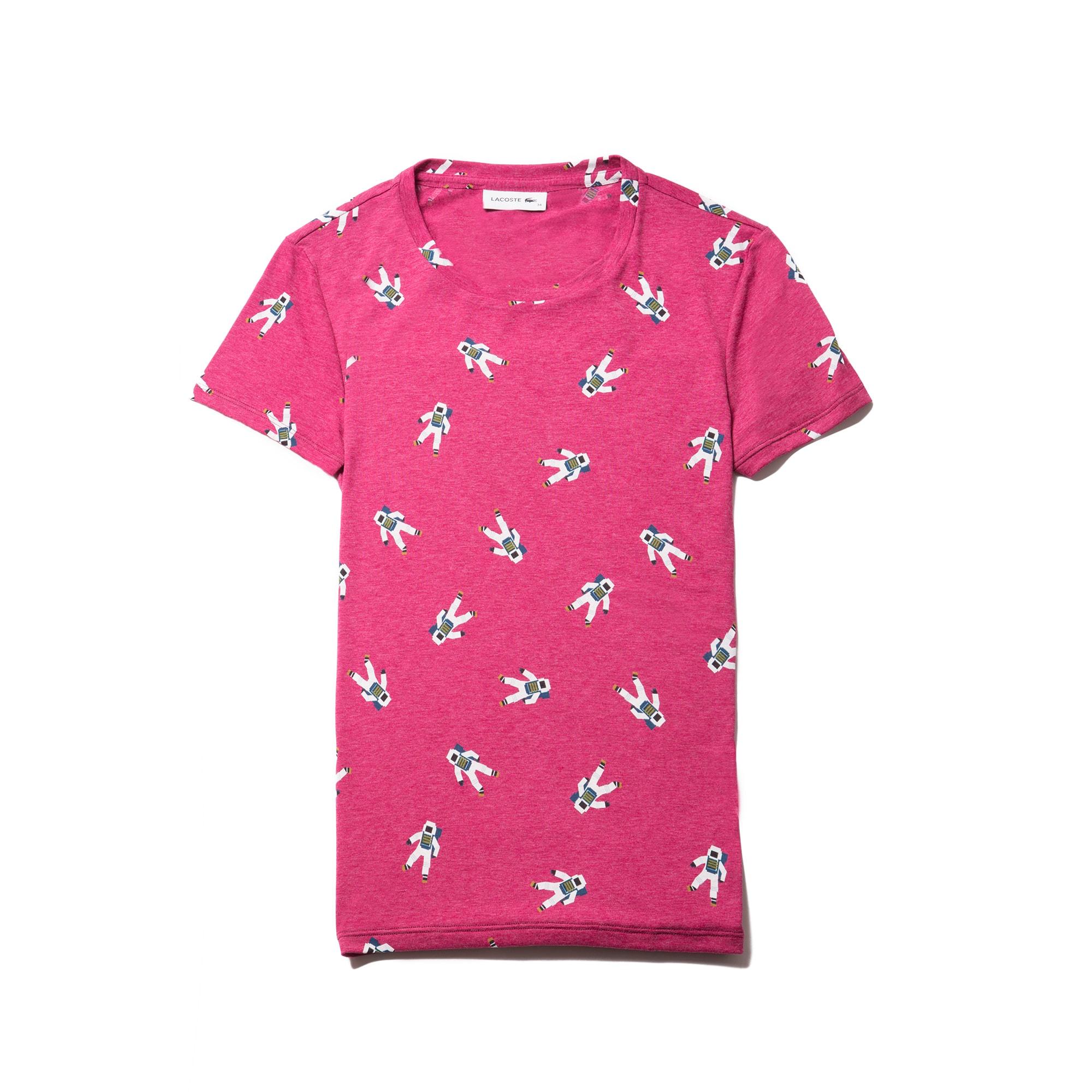 Women's Crew Neck Astronaut Print Flowing Jersey T-shirt