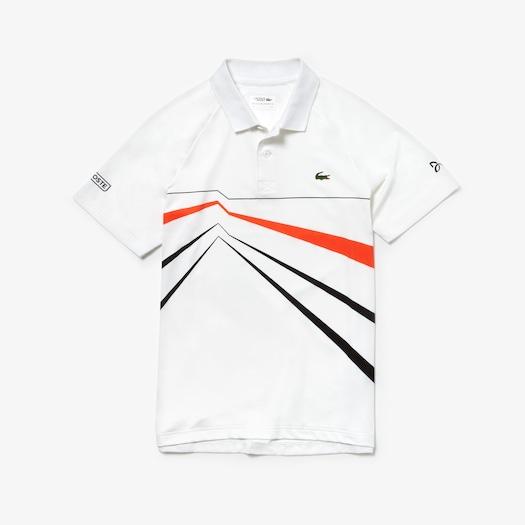 [노박 조코비치 컬렉션] 라코스테 스포츠 테니스 스트레치 폴로 셔츠 Lacoste Mens SPORT Novak Djokovic Collection Stretch Polo,White / Black / Red