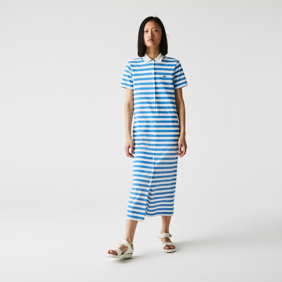 Women's Striped Cotton Piqué Long Buttoned Dress