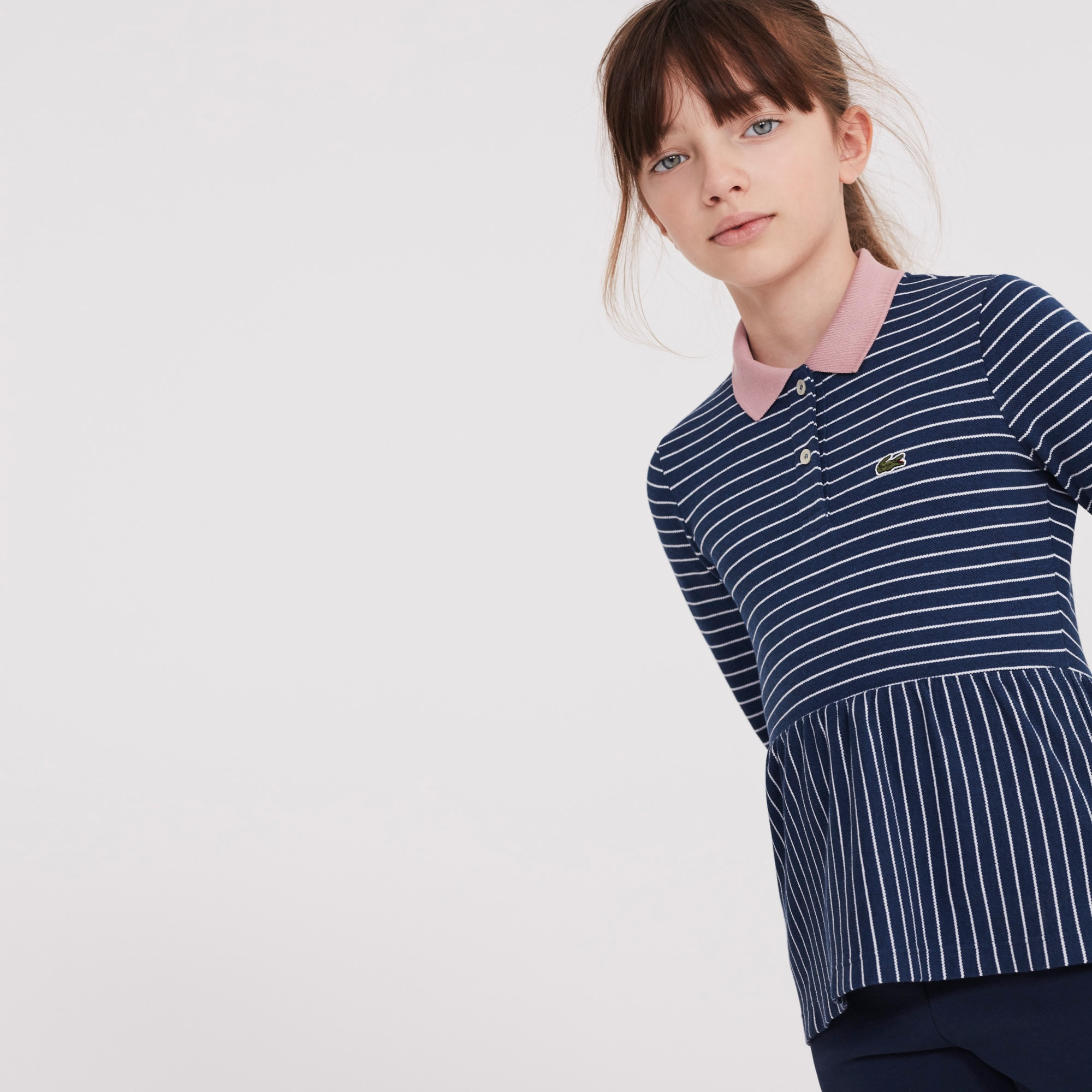 Girls' Striped Piqué Polo