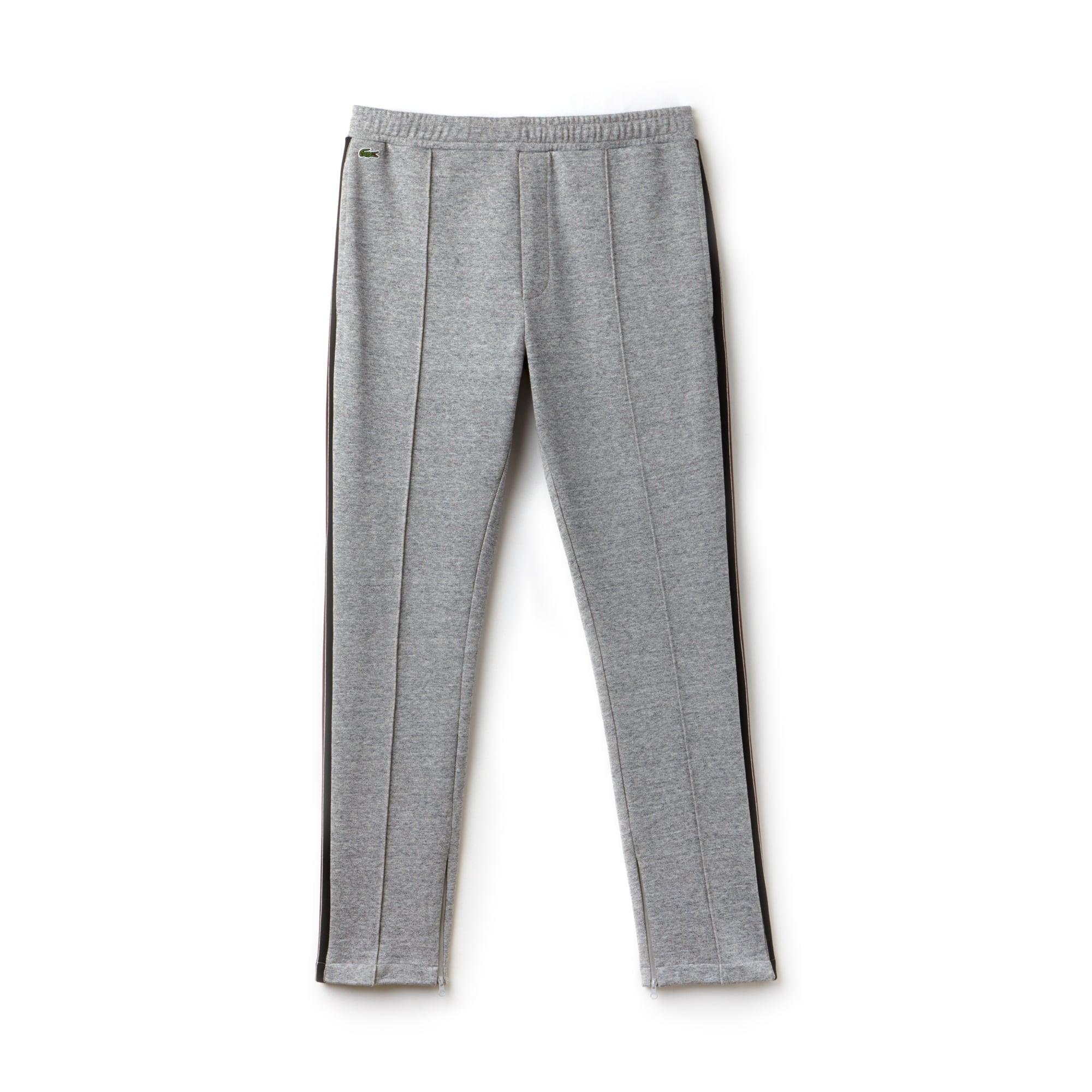 라코스테 Lacoste Mens LIVE Contrast Bands Pleated Fleece Jogging Pants,grey chine / white