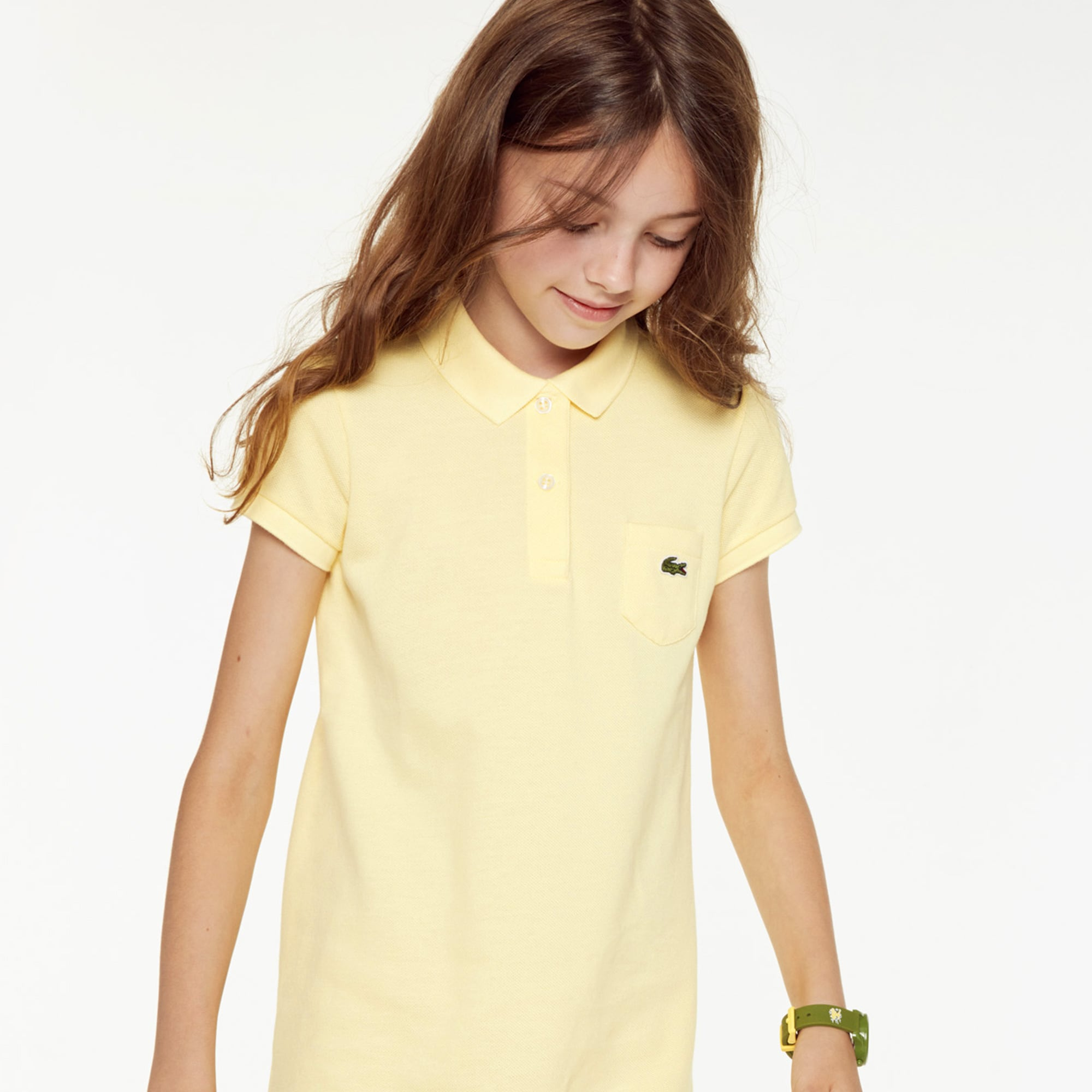 7542792fe909c Girls  flared dress in solid mini piqué cotton