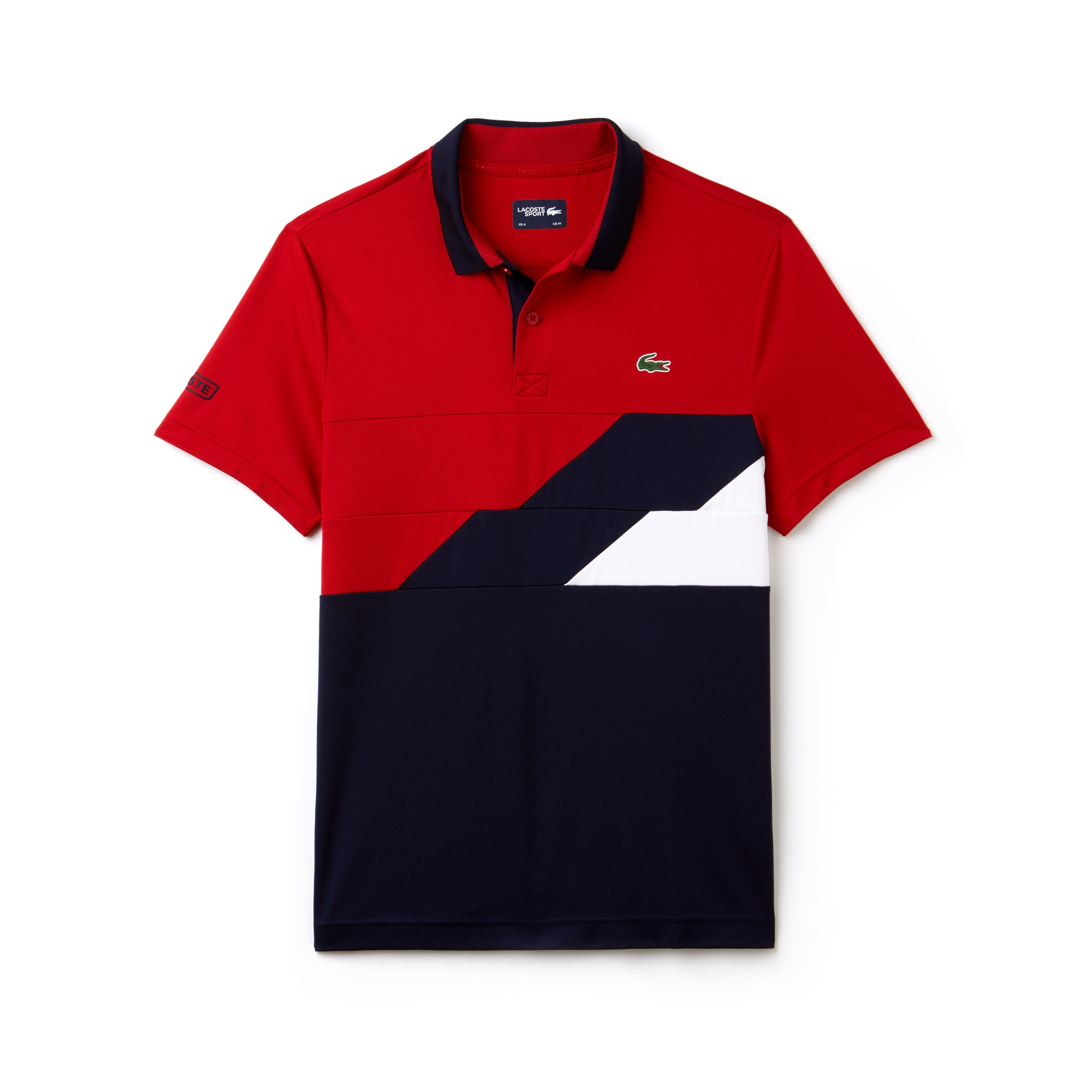 라코스테 Lacoste Mens SPORT Colorblock Bands Technical Pique Tennis Polo,lighthouse red/navy blue-