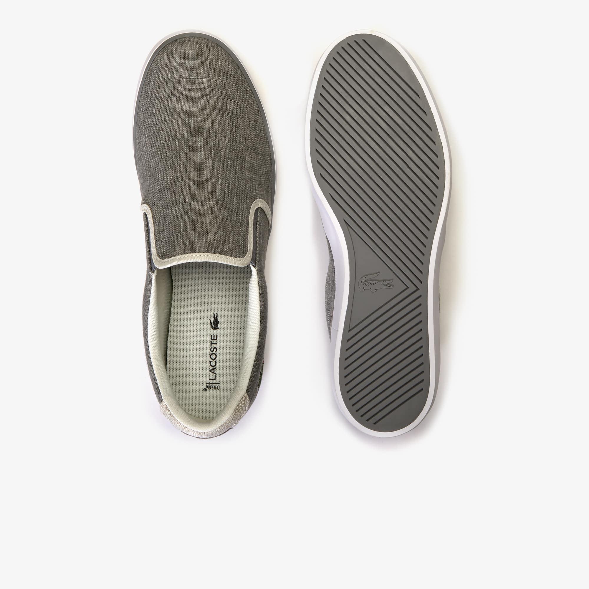 3e472c2cd Shop Lacoste Men S Jouer Slip On Canvas Slip-Ons In Grey Natural