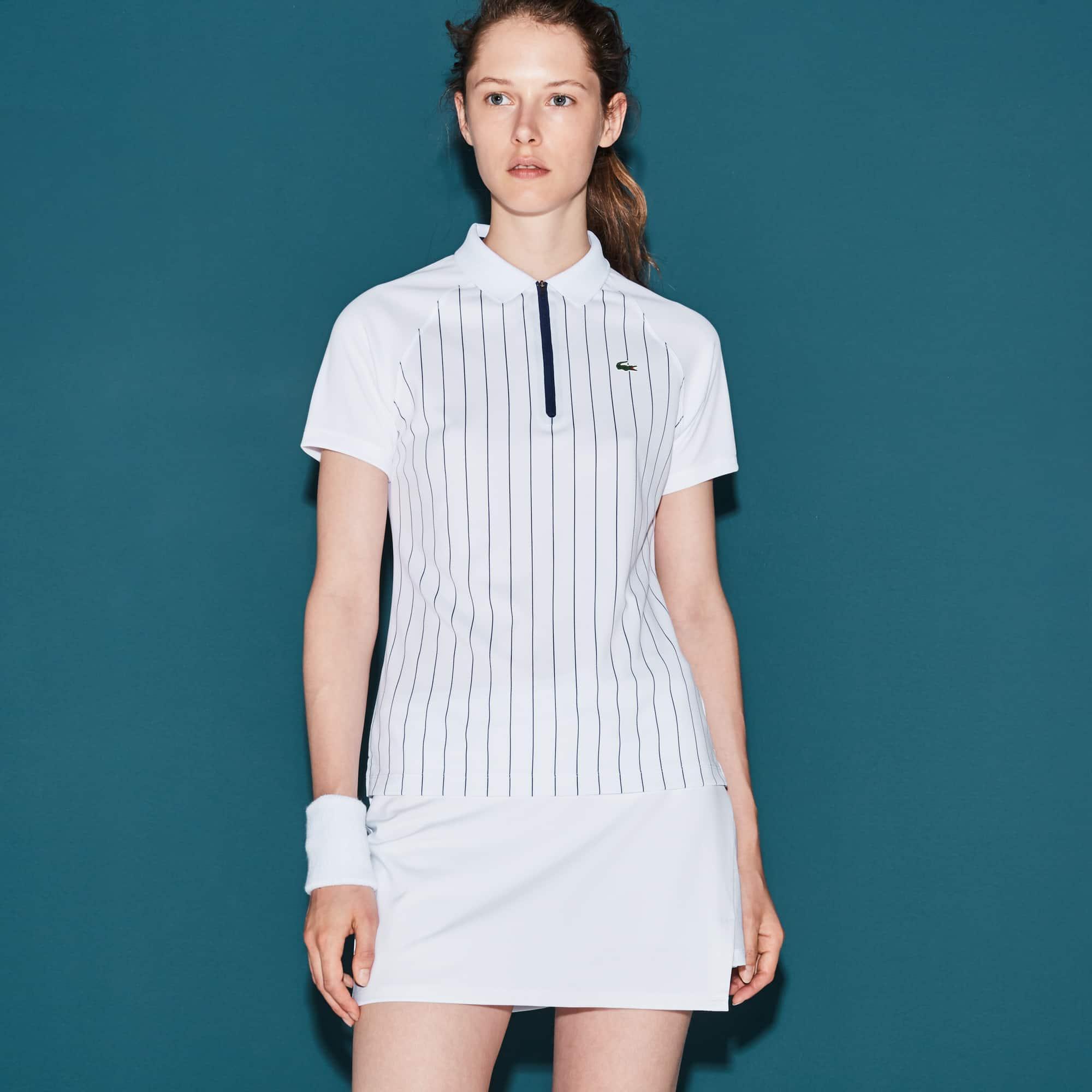 Women's Lacoste SPORT Tennis Zip Neck Striped Tech Piqué Polo