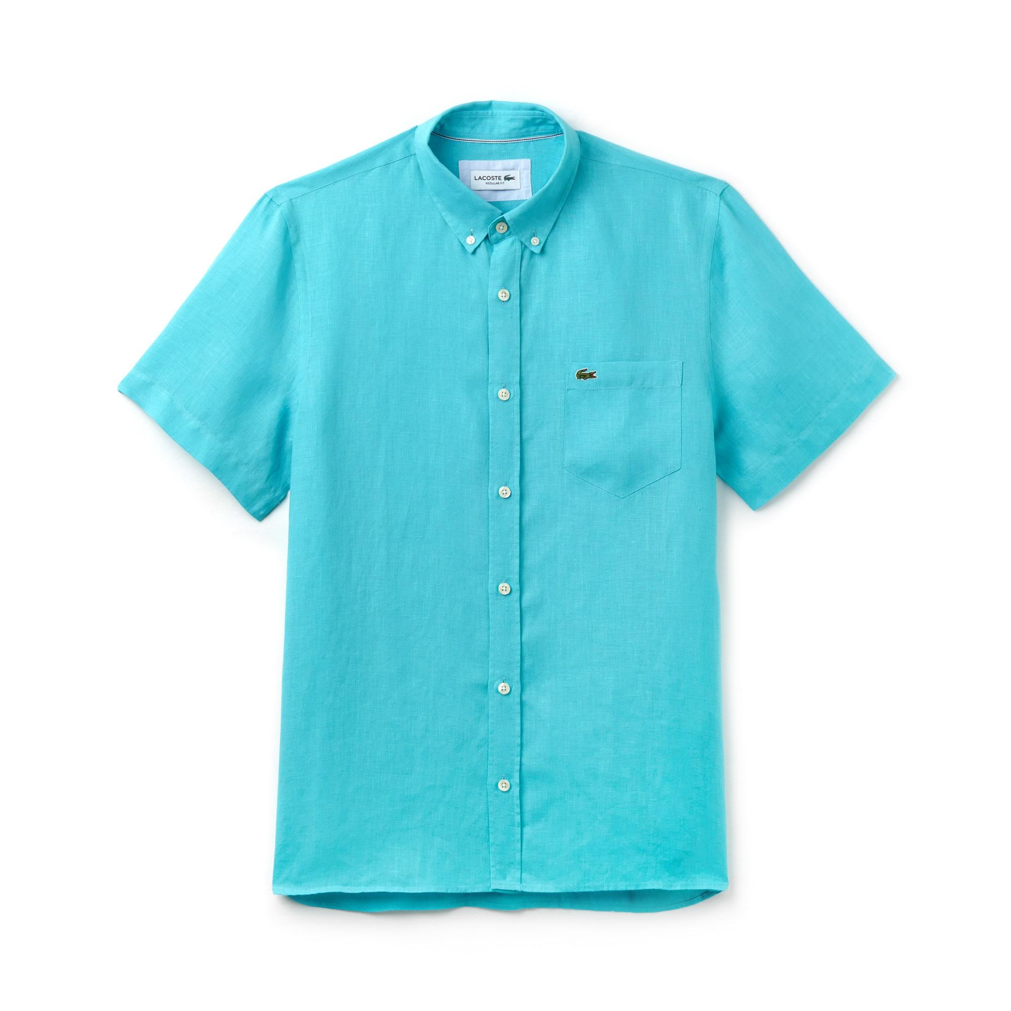 라코스테 반팔 셔츠 Lacoste Mens Regular Fit Linen Shirt,reef green
