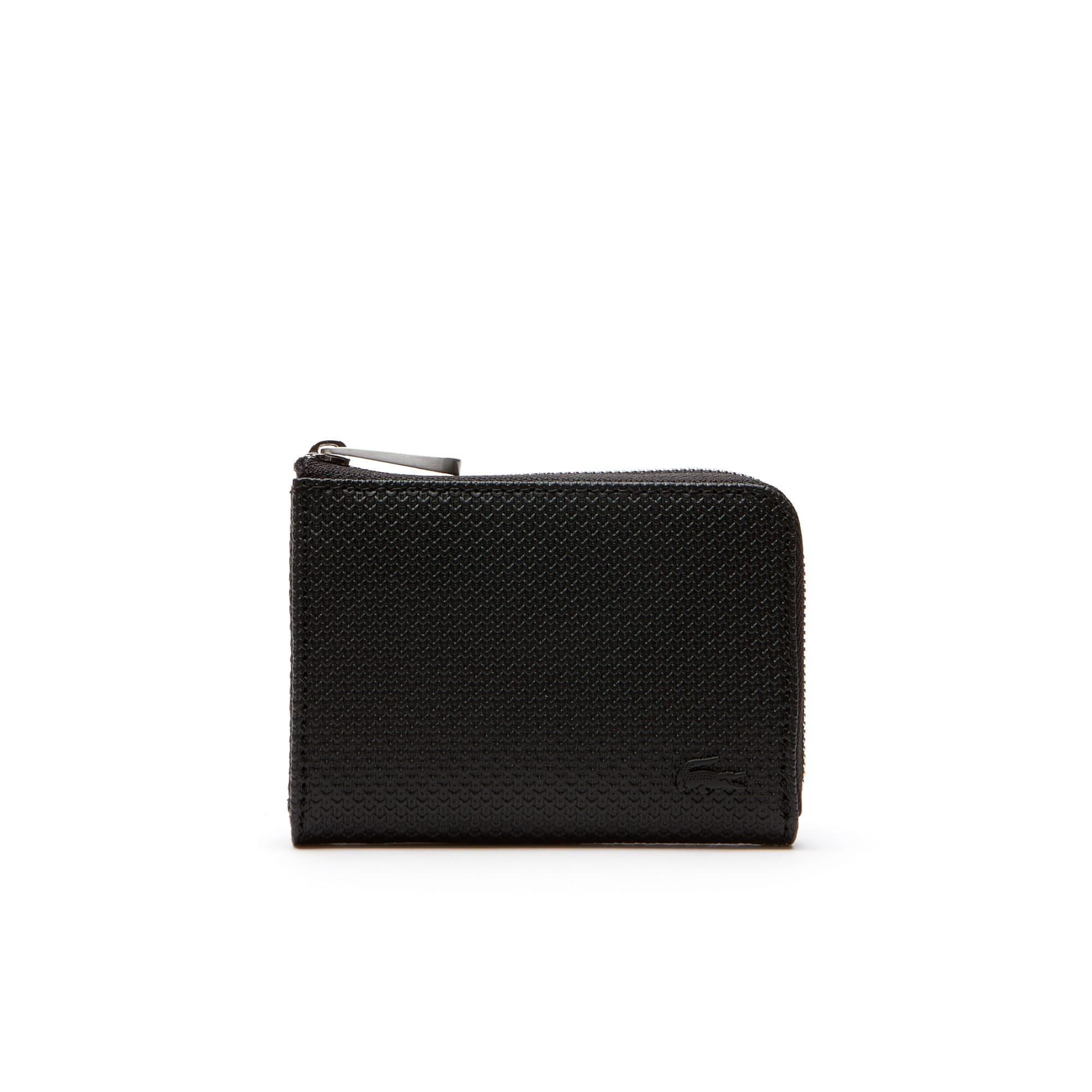 라코스테 카드 지갑 Lacoste Mens Chantaco Matte Pique Leather Zip Card Holder,black