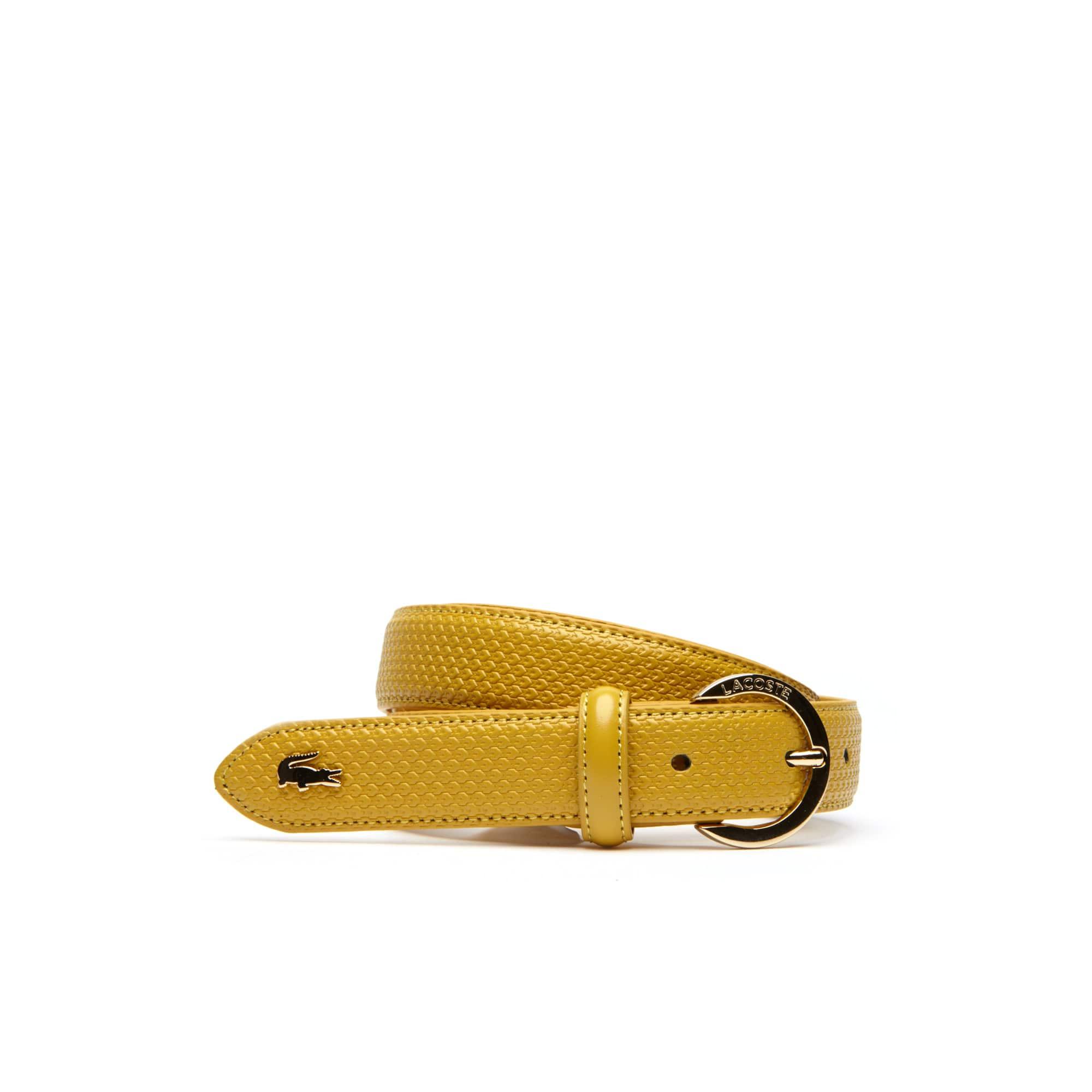 라코스테 여성 벨트 Womens Chantaco Lacoste Engraved Round Buckle Leather Belt,mineral yellow
