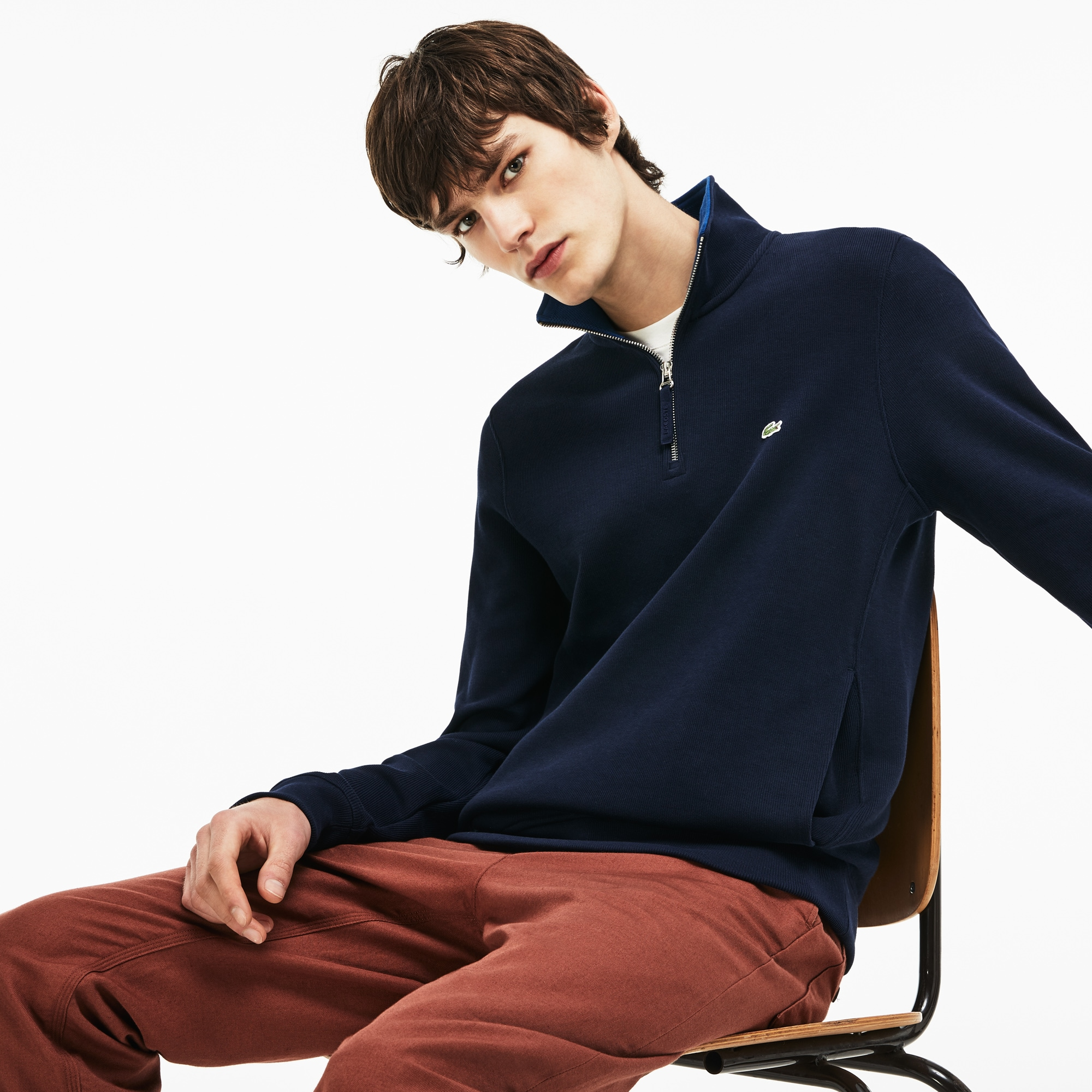 Men's Zip Stand-Up Collar Ribbed Sweatshirt
