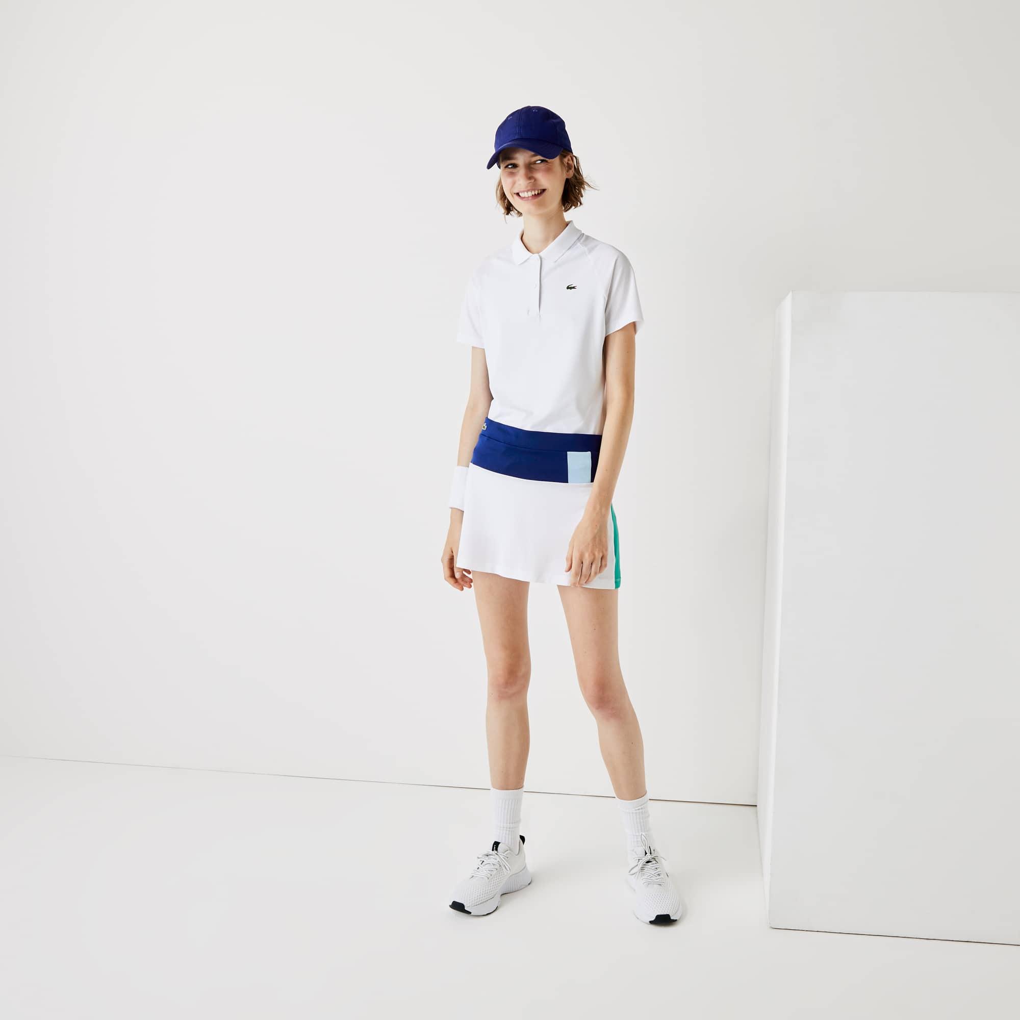 라코스테 스포츠 테니스 스커트 Lacoste Womens SPORT Breathable Stretch Tennis Skirt,Blue / White / Yellow / Blue / Green
