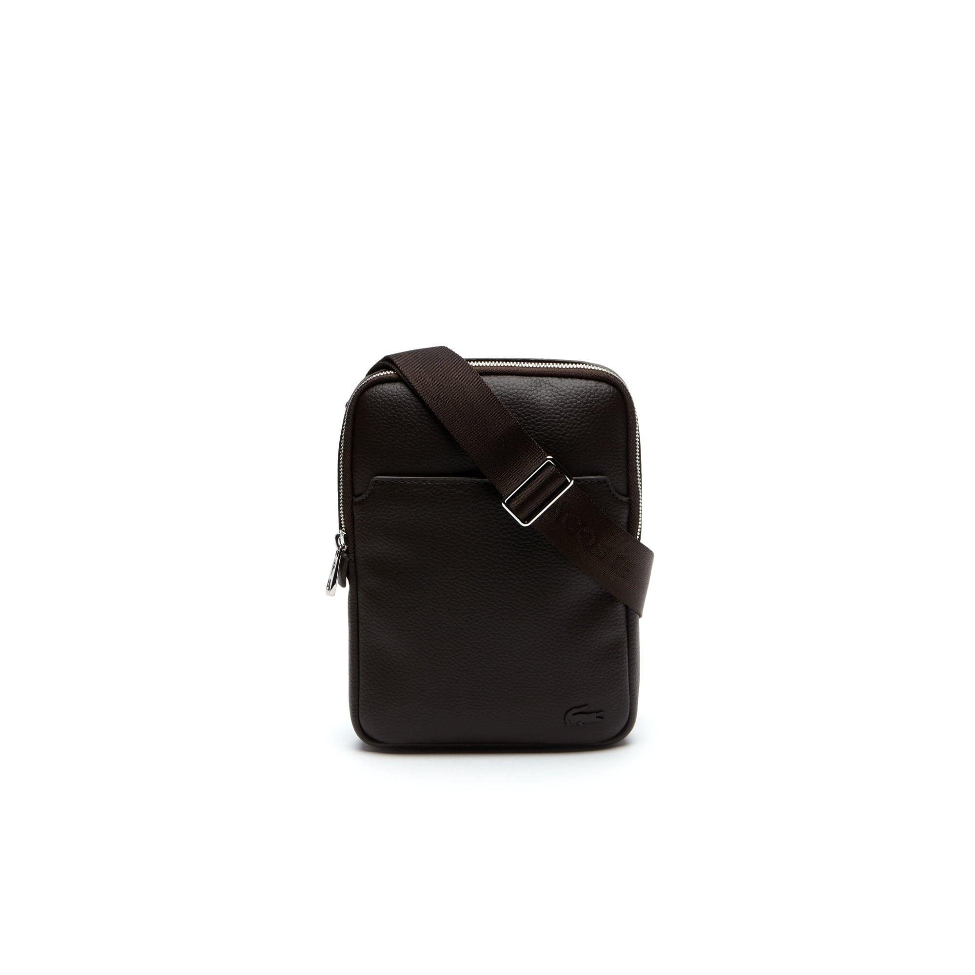 라코스테 Lacoste Mens Gael Small Flat Zip Bag,CHOCOLATE BROWN