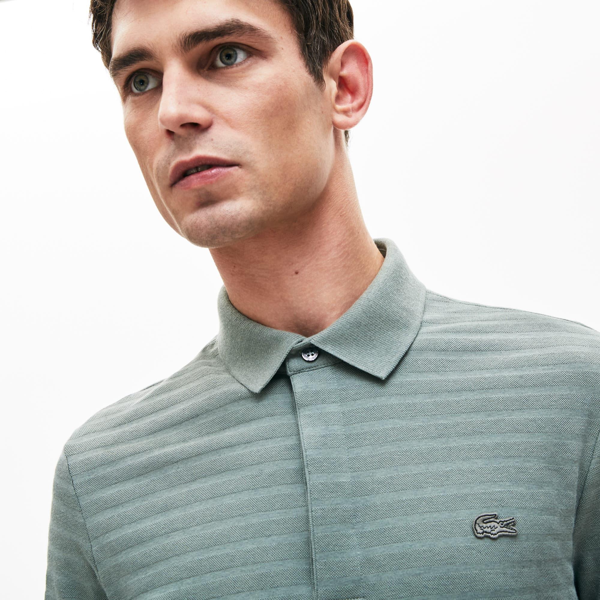 Lacoste Tops Men's Regular Fit Striped Cotton And Cashmere Piqué Polo Shirt