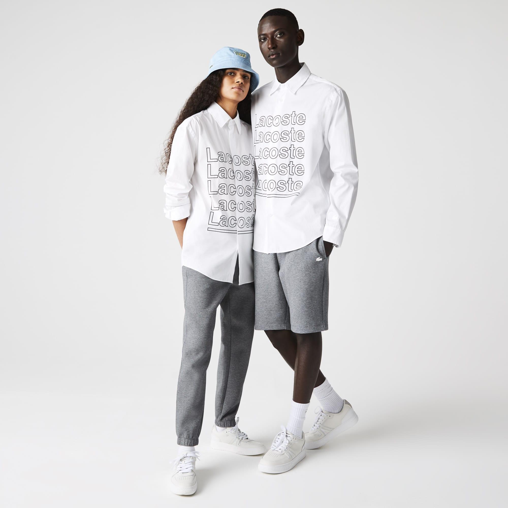 라코스테 라이브 남녀공용 셔츠 Lacoste Unisex LIVE Relaxed Fit Print Poplin Shirt,White 001