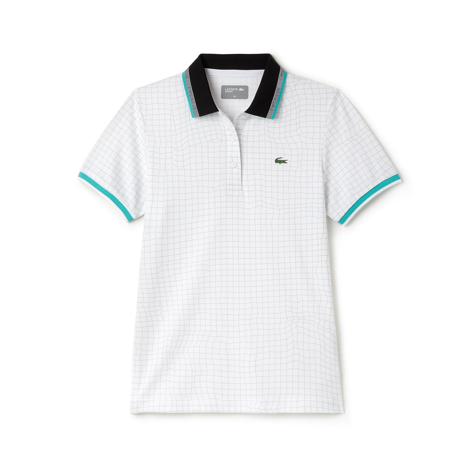 라코스테 스포츠 반팔 카라 티셔츠 Lacoste Womens SPORT Net Print Technical Pique Tennis Polo,WHITE/ARMOUR-BLACK-WHITE-