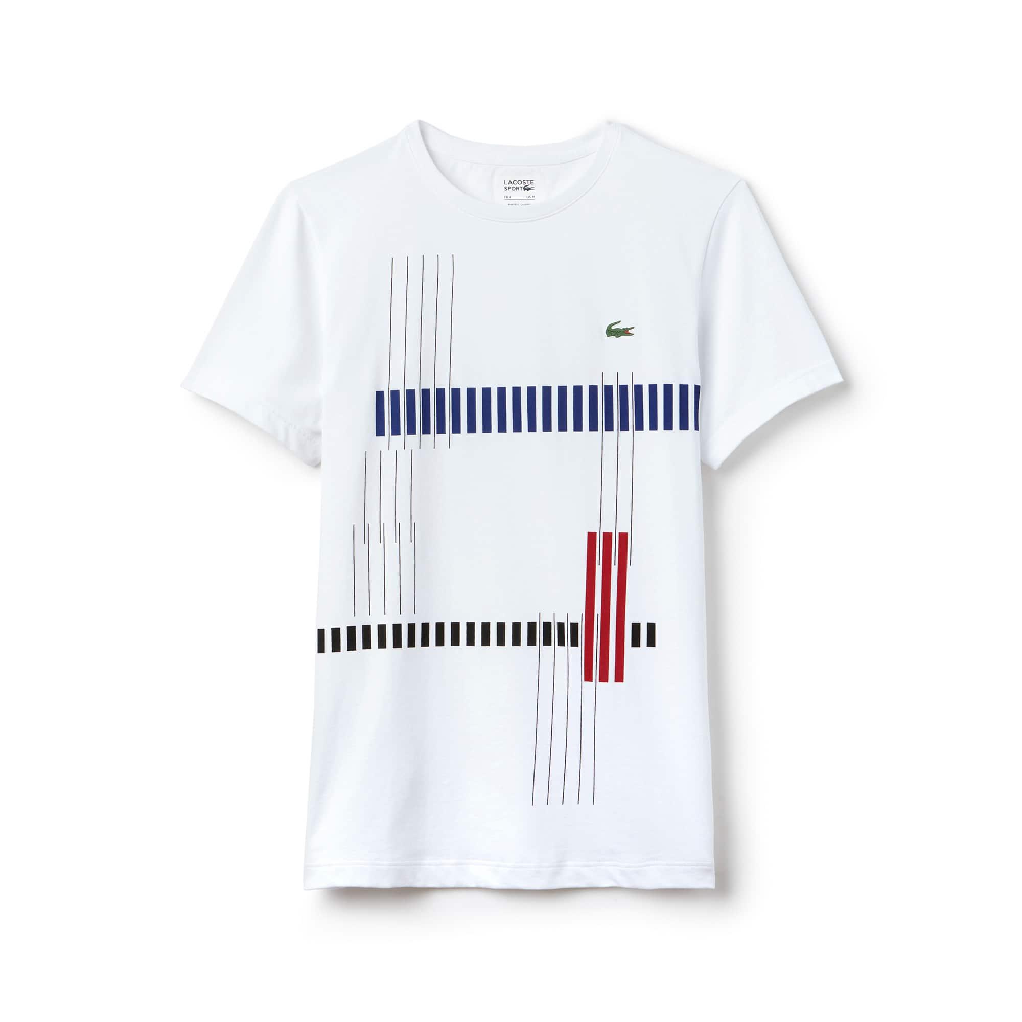라코스테 Lacoste Mens SPORT Tennis Striped Design Tech Jersey T-shirt,white / navy blue / red / black