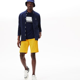 라코스테 Lacoste Mens Slim Fit Stretch Gabardine Shorts,Yellow - G6N