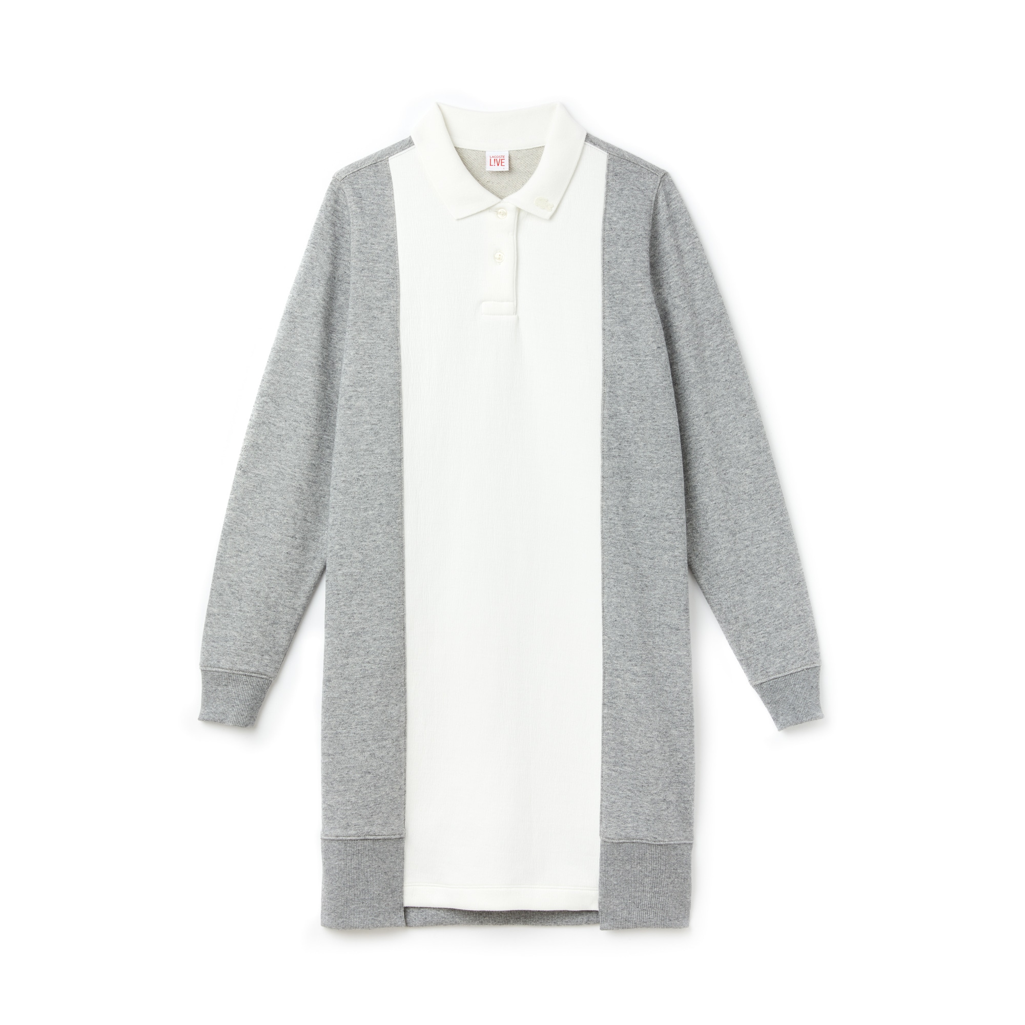 라코스테 피케 원피스 화이트/그레이 Lacoste Womens LIVE Contrast Panels Fleece Polo Dress,flour/arbas chine