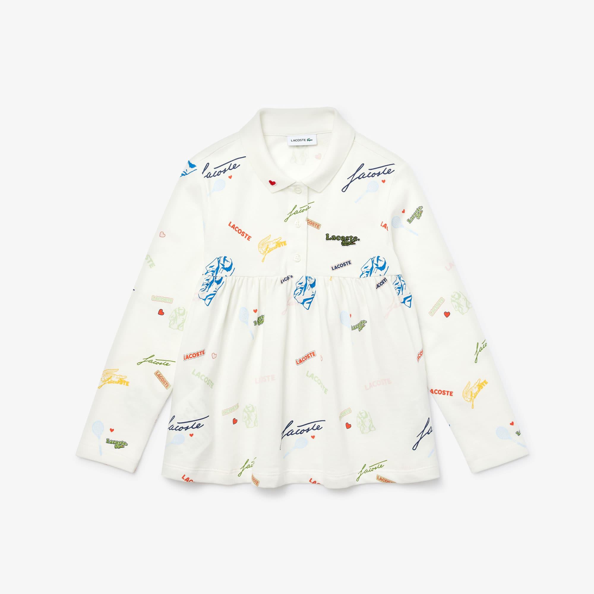 라코스테 폴로셔츠 Girls Lacoste Print Flounced Cotton Pique Polo Shirt,White 2CQ