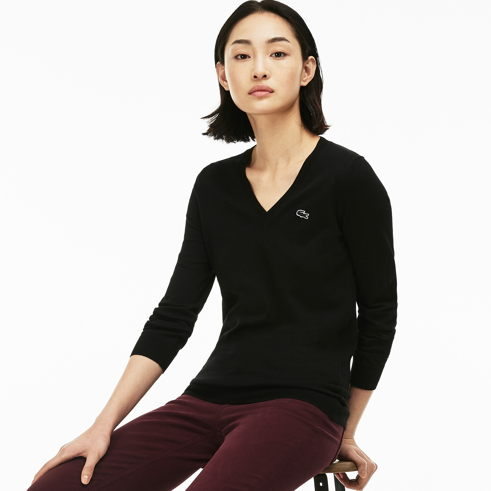Women's V-neck Jersey Sweater