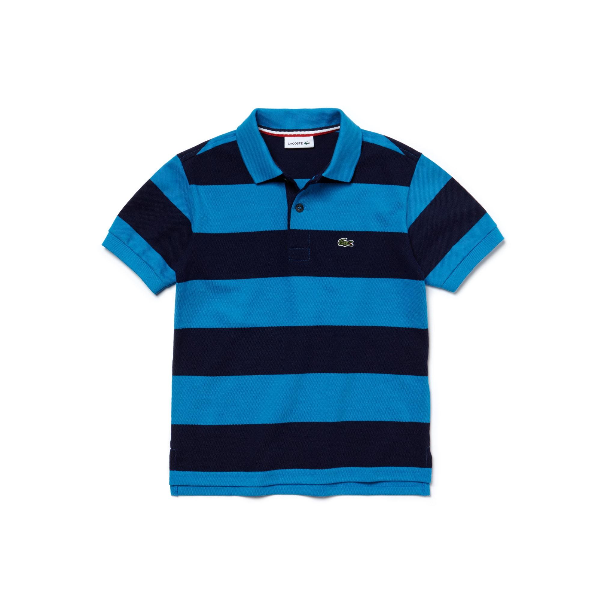Boy's Bar Striped Cotton Polo Shirt