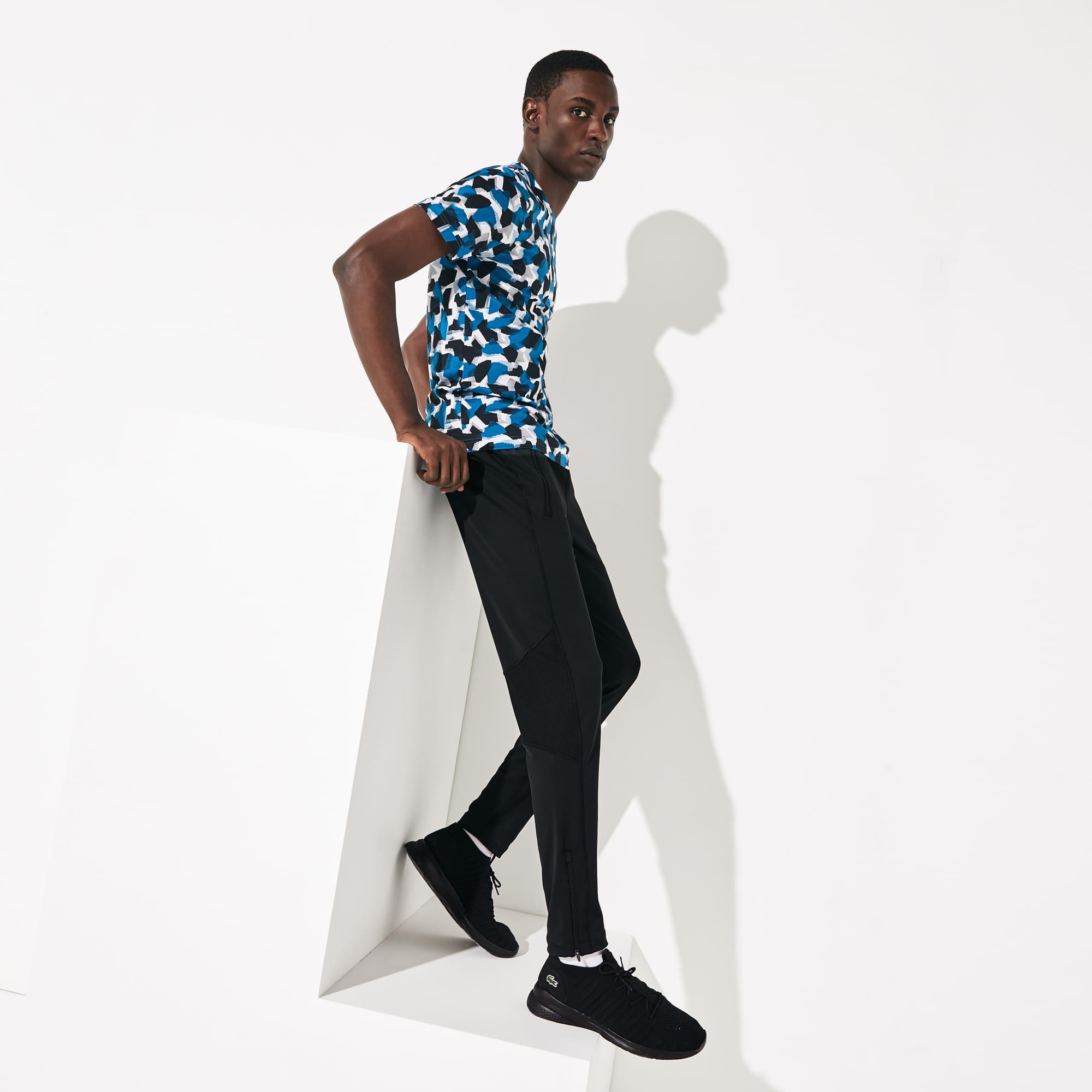 라코스테 Lacoste Mens SPORT Paneled Breathable Sweatpants,Black