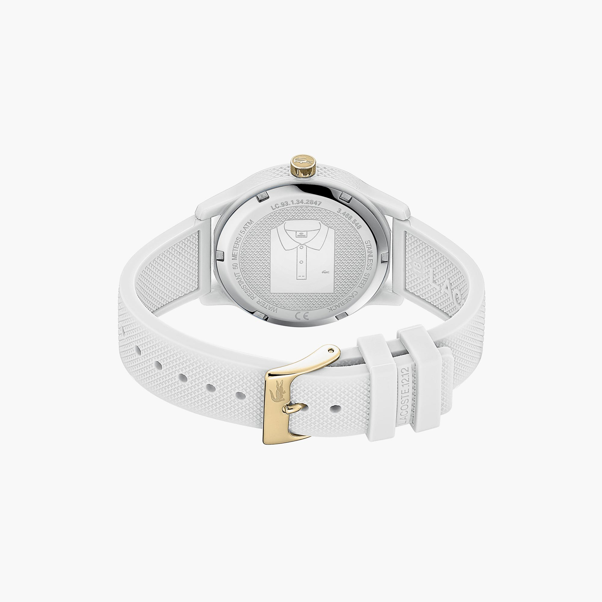 Ladies Lacoste.12.12 Watch with White Silicone Petit Piqué Pattern Strap